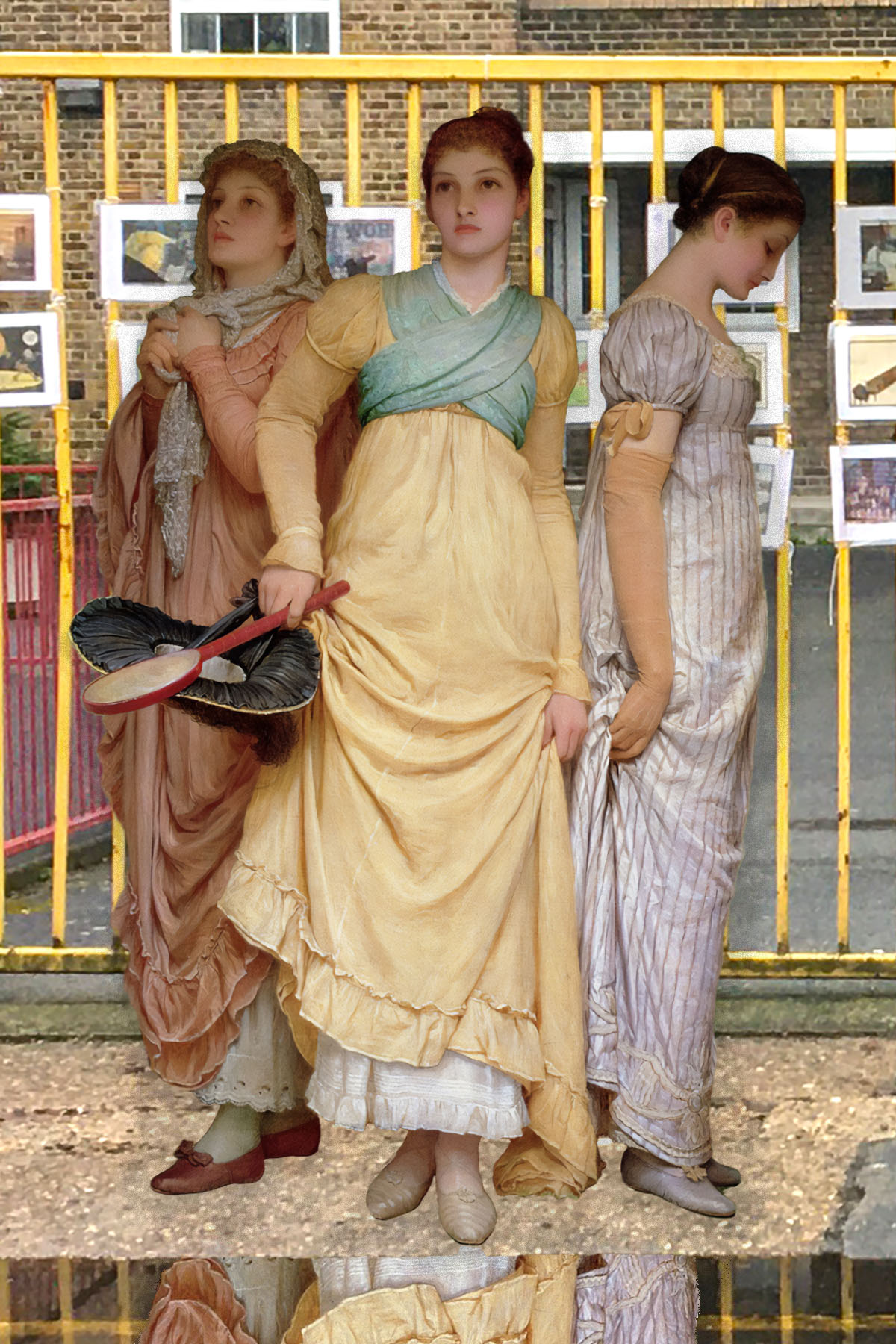 """Charles Edward Perugini's """"A Summer Shower"""" (c.1888) on Watergate Street near Twinkle Park, Deptford, in front of a community Covid display"""