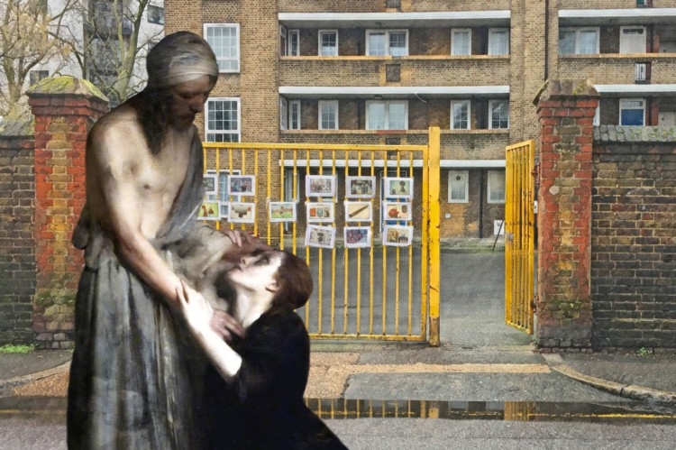 "Arthur Hacker's ""Christ and Magdalene"" (1890) on Watergate Street near Twinkle Park, Deptford"