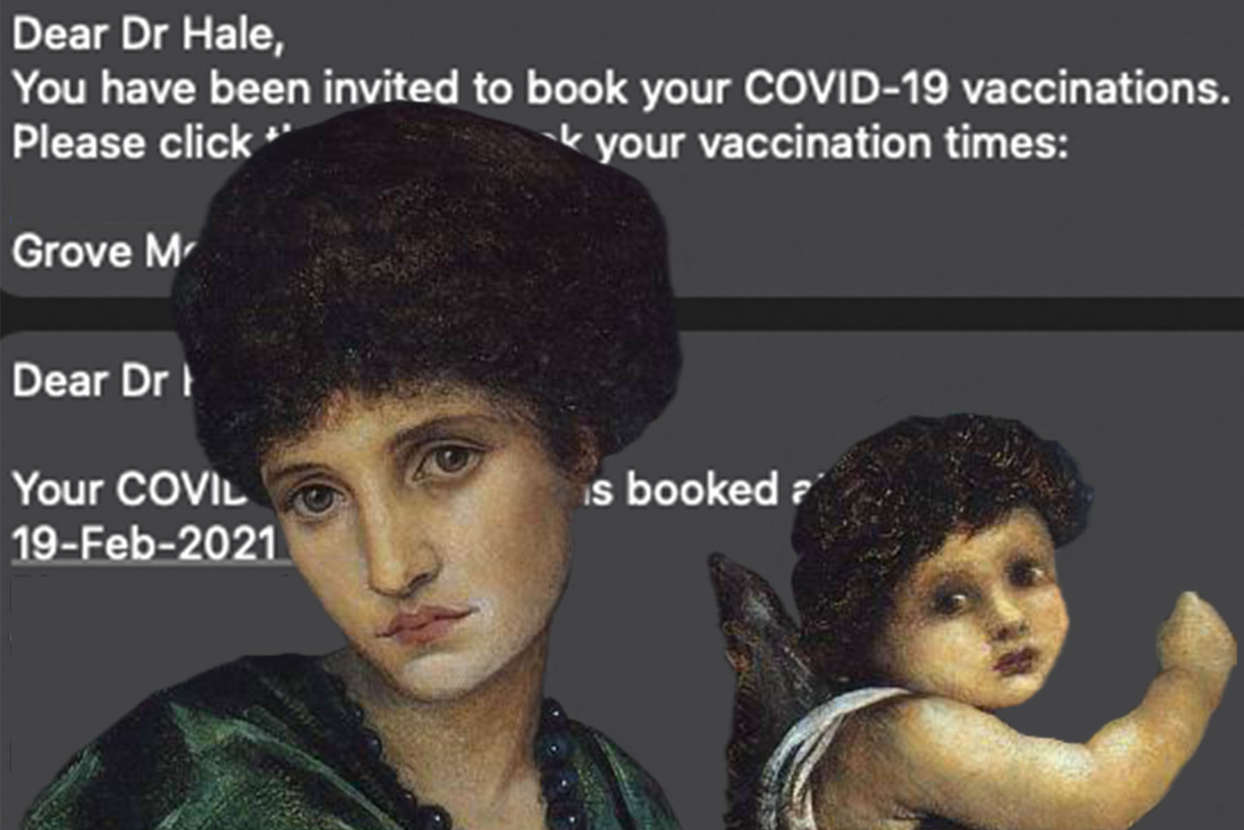 """Edward Burne-Jones's """"Cupid and Psyche"""" (1870) adorning the text I received about scheduling my first Covid-19 vacciation"""