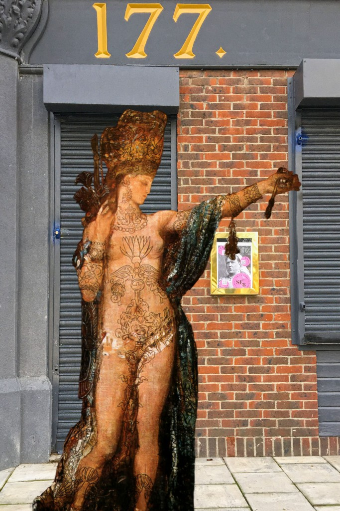 "Gustave Moreau's ""Salomé Dancing (Salomé Tattooed)"" (1874) in front of The Victoria pub, Grove Street, Deptford"