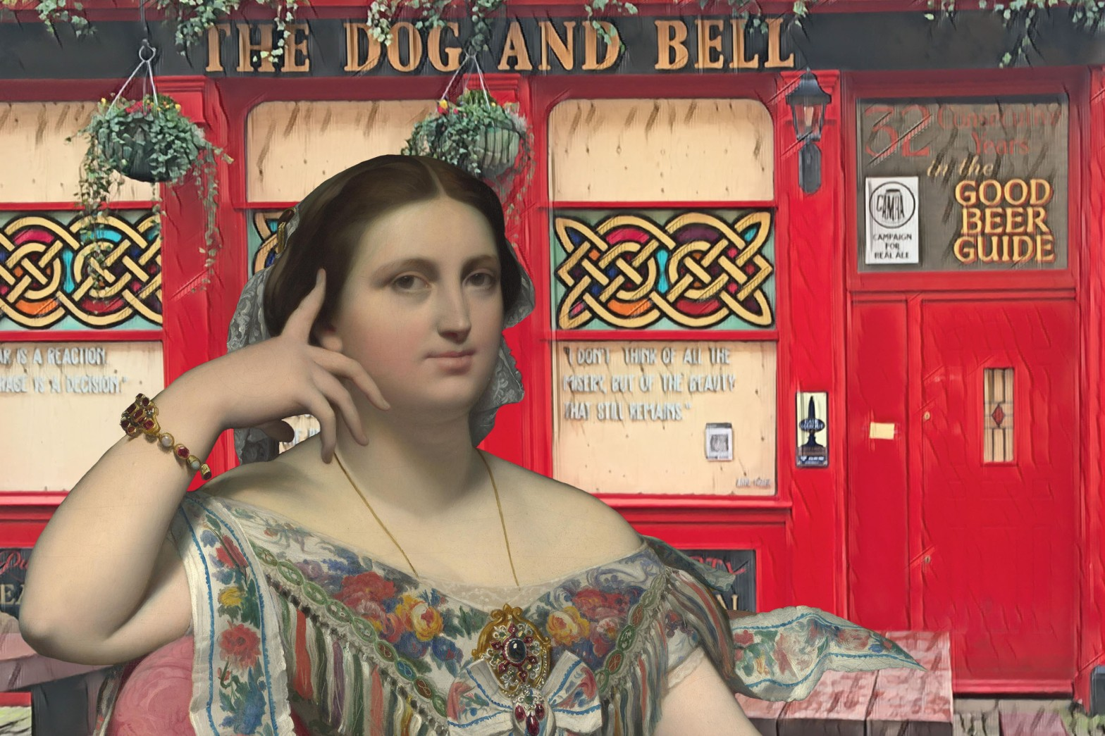 "Jean-Auguste-Dominique Ingres's ""Madame Moitessier"" (1856) in front of the Dog and Bell, Prince Street, Deptford. Today is my birthday. If it were not for the pandemic, I would have visited Madame Moitessier at the National Gallery before grabbing a few pints at the Dog & Bell."