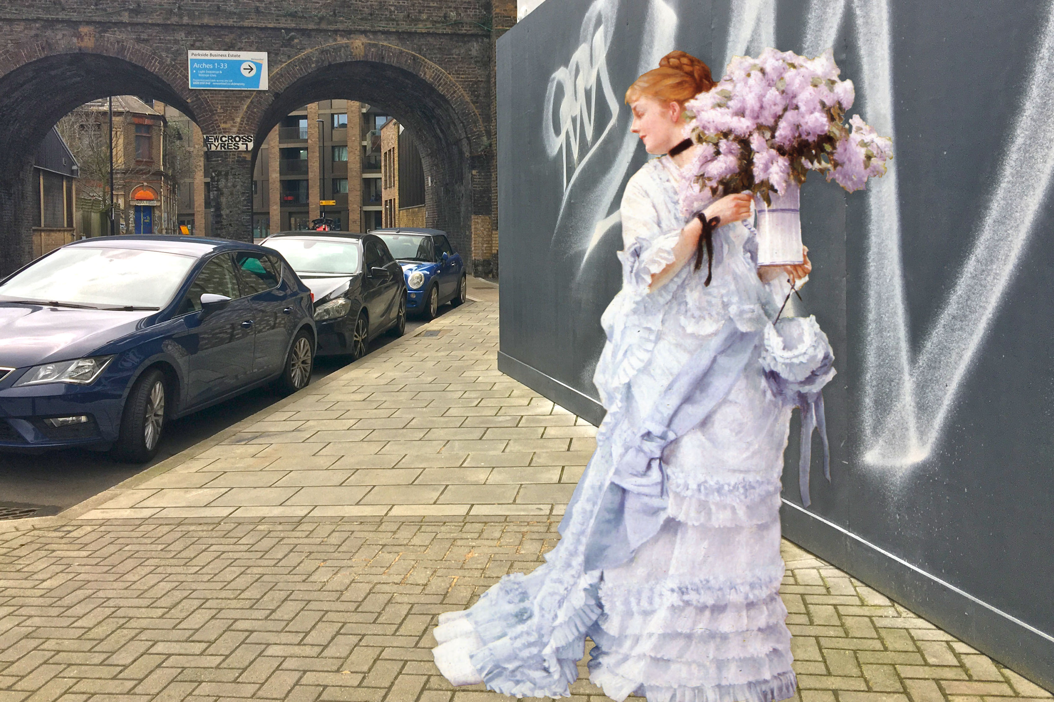 "Figure from James Tissot's ""The Bunch of Lilacs"" (1875) on Arklow Street in Deptford"