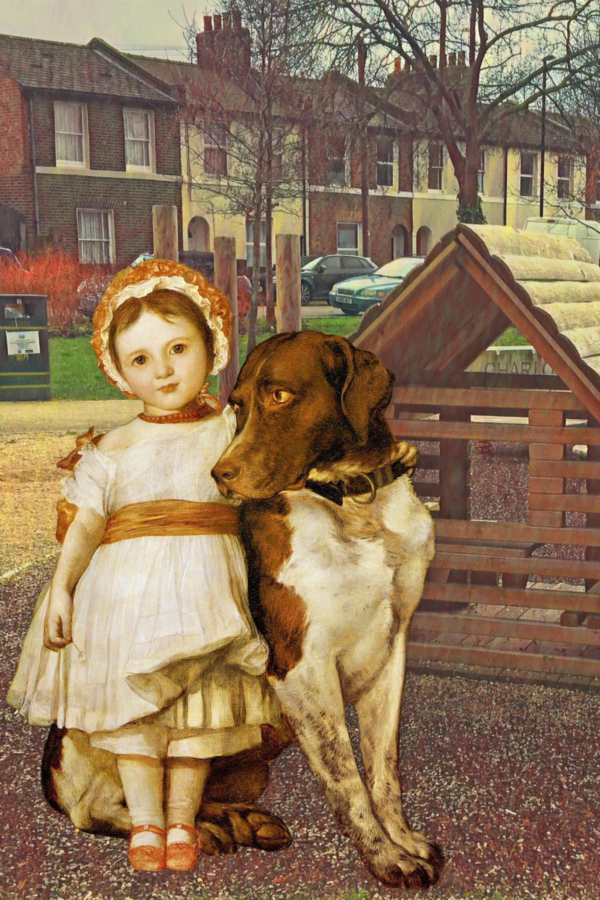 "George Frederic Watts's ""Miss Mary Fox with Spanish Pointer"" (c. 1854) in Amersham Grove Playground, New Cross"