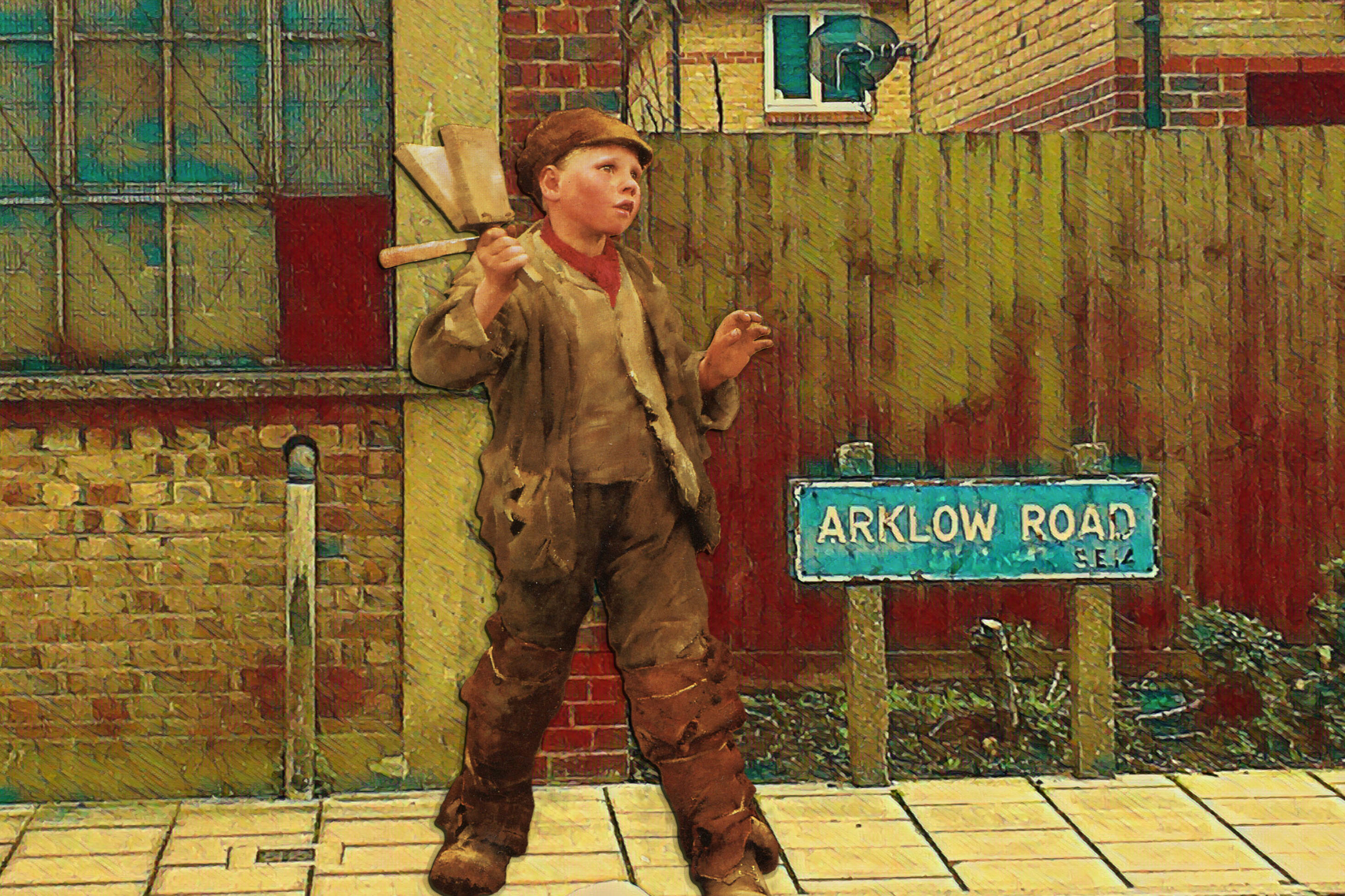 """Boy from George Clausen's """"Bird Scaring"""" (1887) on Arklow Road in Deptford"""
