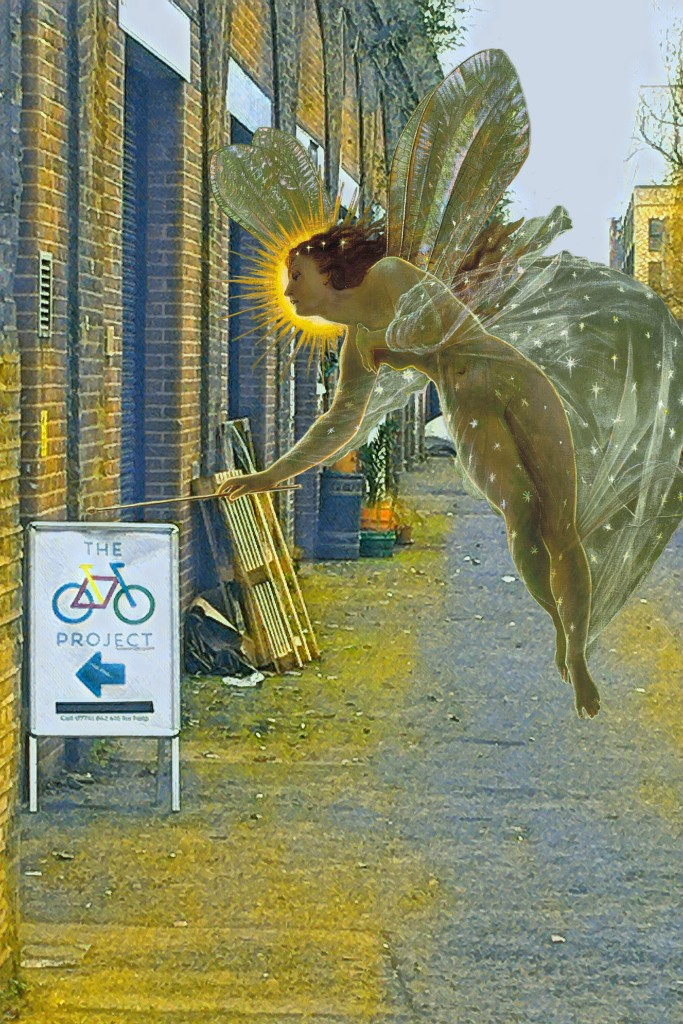 "John Atkinson Grimshaw's ""Spirit of the Night"" (1879) at the Edward Place railway arches (and The Bike Project Workshop) in Deptford"