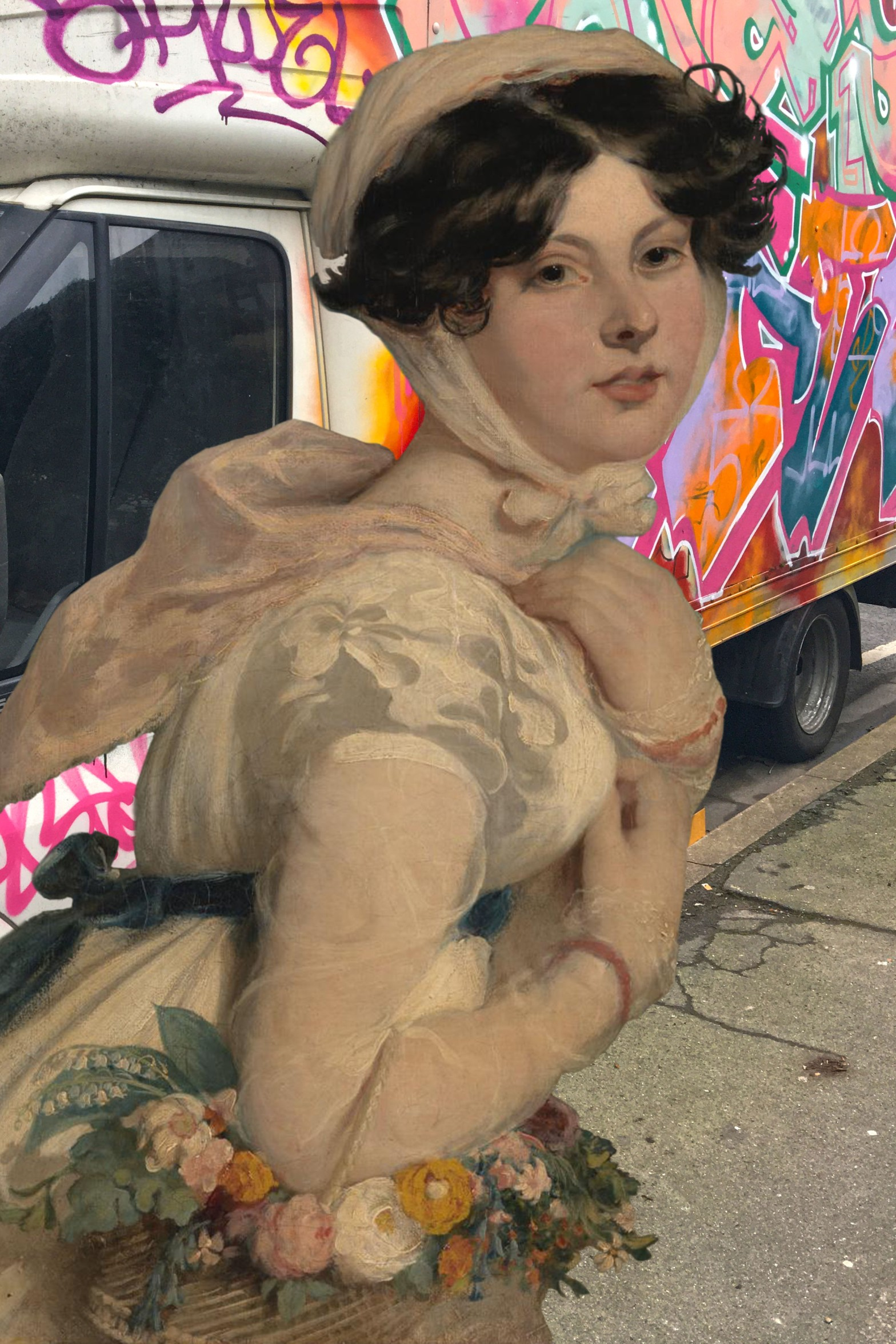 "William Etty's ""Miss Mary Arabella Jay"" (1819) in front of a heavily tagged white van on Edward Street in Deptford"