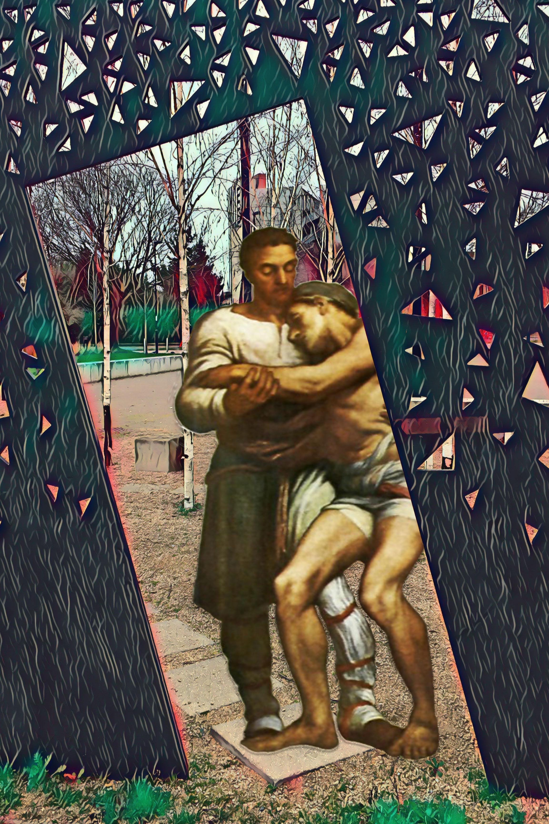 """George Frederic Watts's """"The Good Samaritan"""" (1904) in Amersham Grove Playground, New Cross"""
