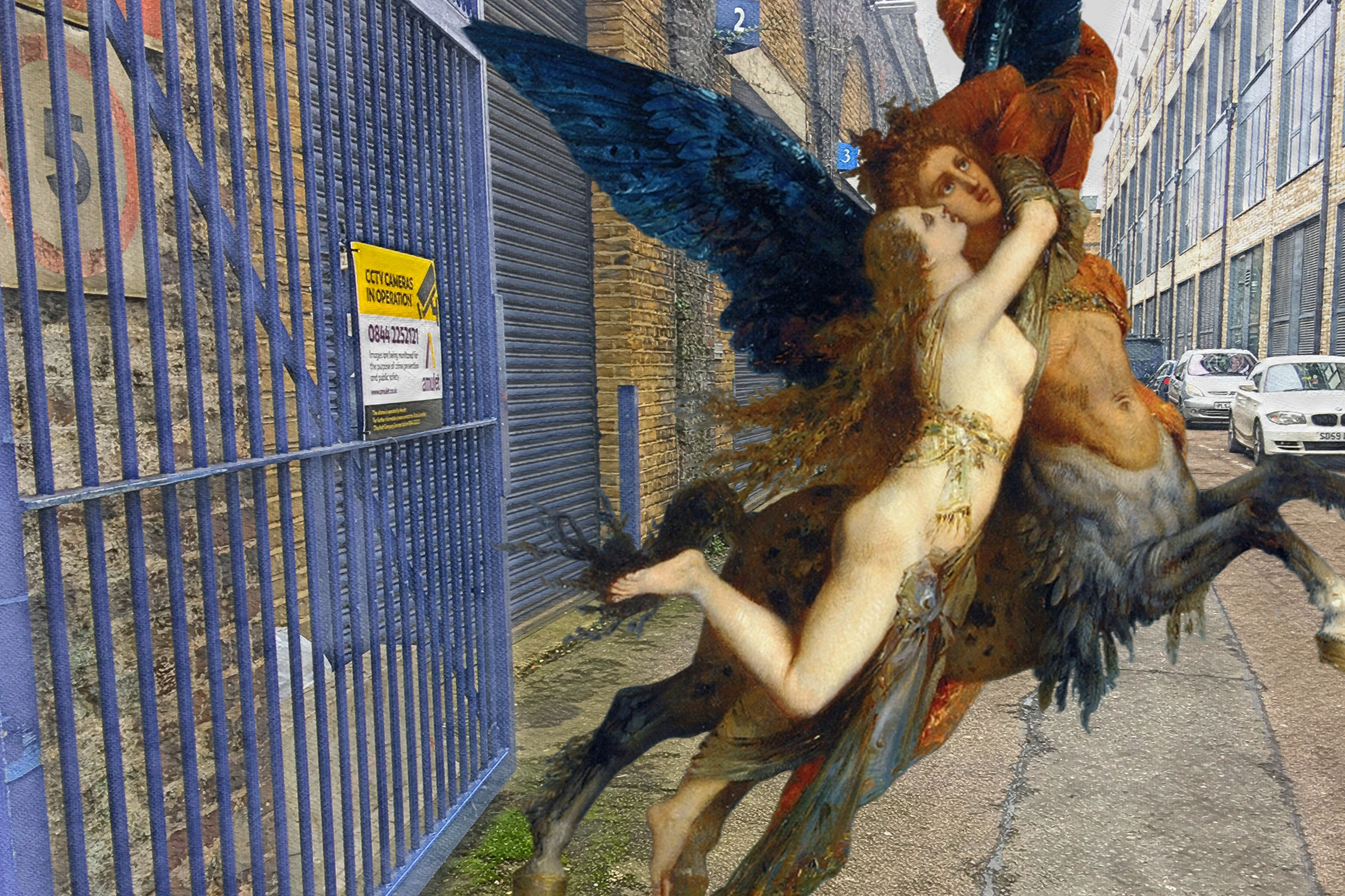 "Gustave Moreau's ""La Chimère"" (1867) next to the railway arches off of Arklow Road, Deptford"