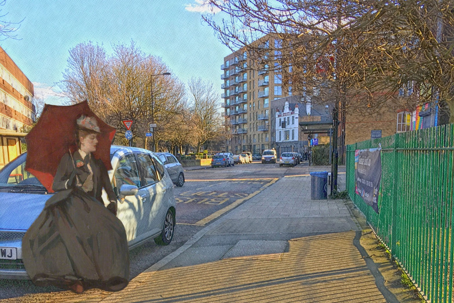 "John Lavery's ""On the Clyde: Study of Lady Glen Coats"" (1890) on Grove Street in Deptford"
