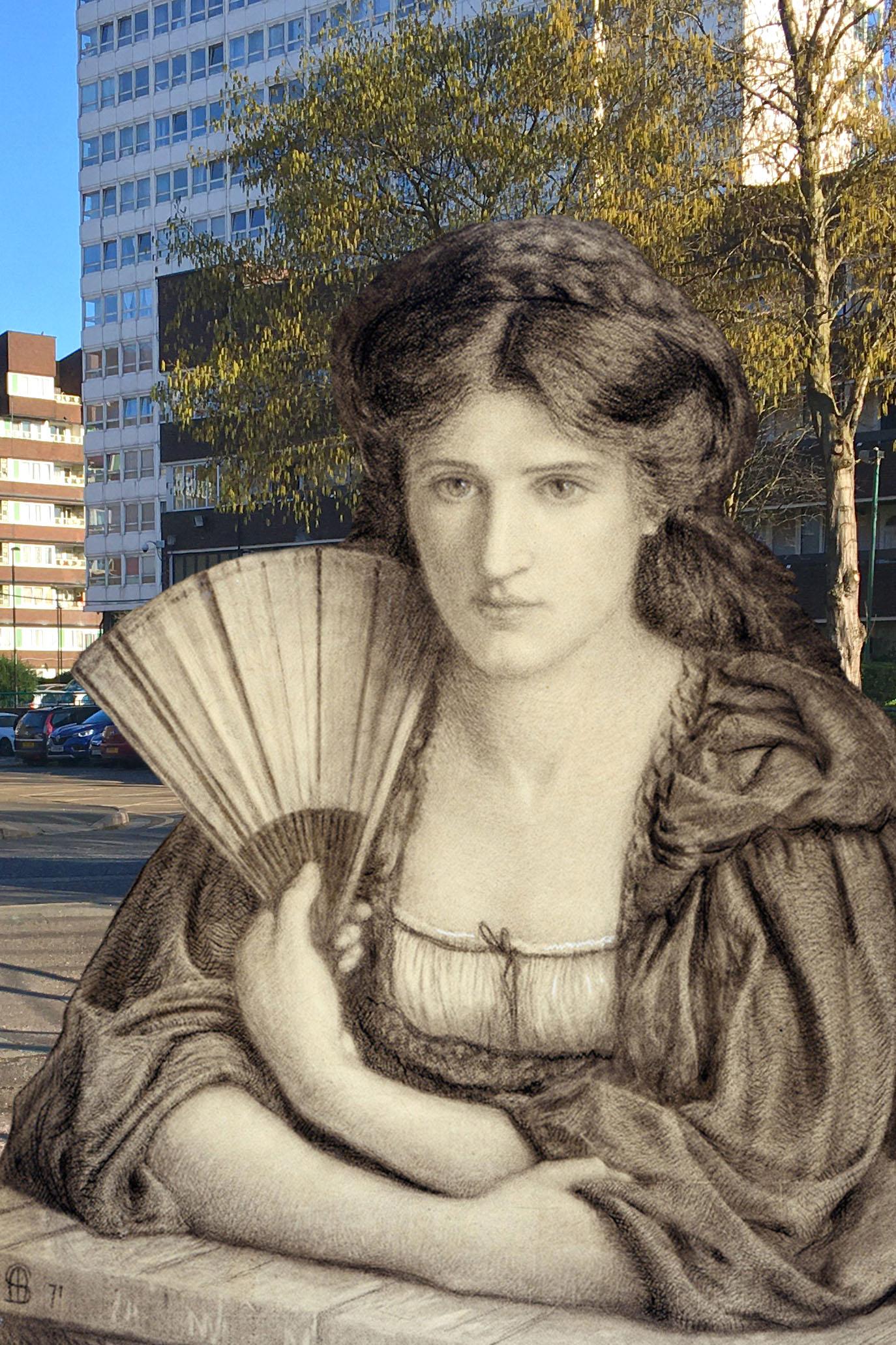 "Marie Spartali Stillman's ""Self Portrait"" (1871) on Grove Street in Deptford"