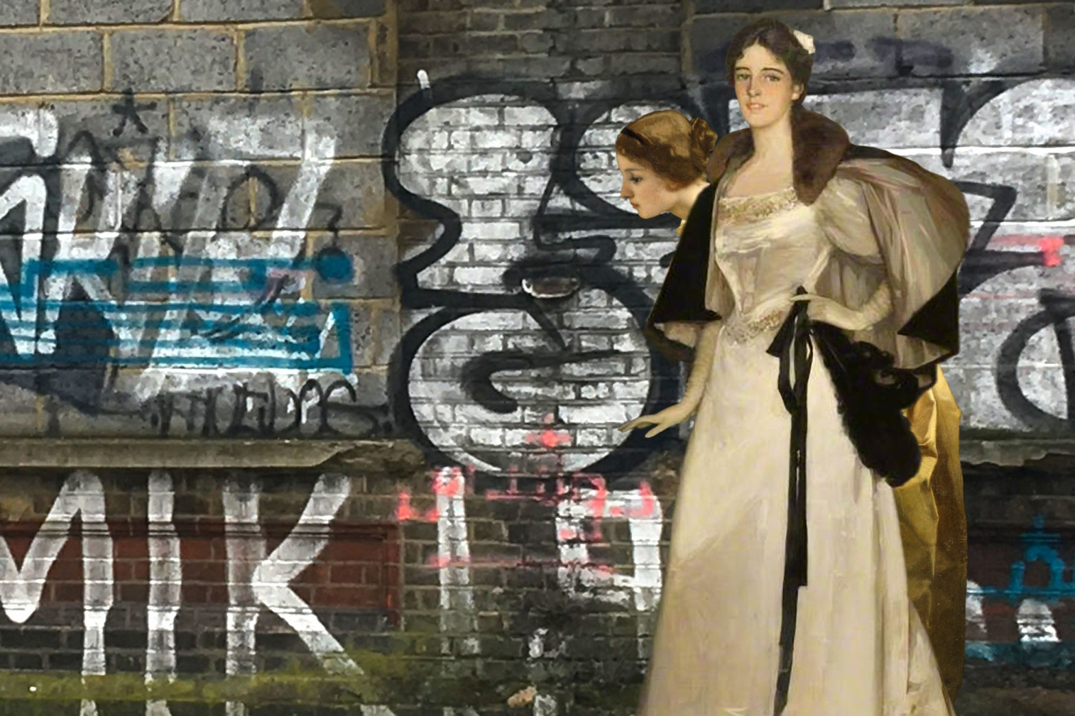 "John Lavery's ""Portrait of Miss Mary Burrell"" (1896) and a figure from Alfred Stevens's ""The Painter and His Model"" (1855) on Arklow Road, Deptford"