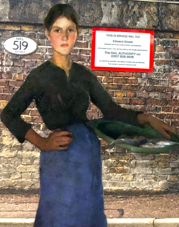 "Elizabeth Adela Forbes's ""The Zandvoort Fishergirl"" (1884) under a railway bridge on Edward Street in Deptford"