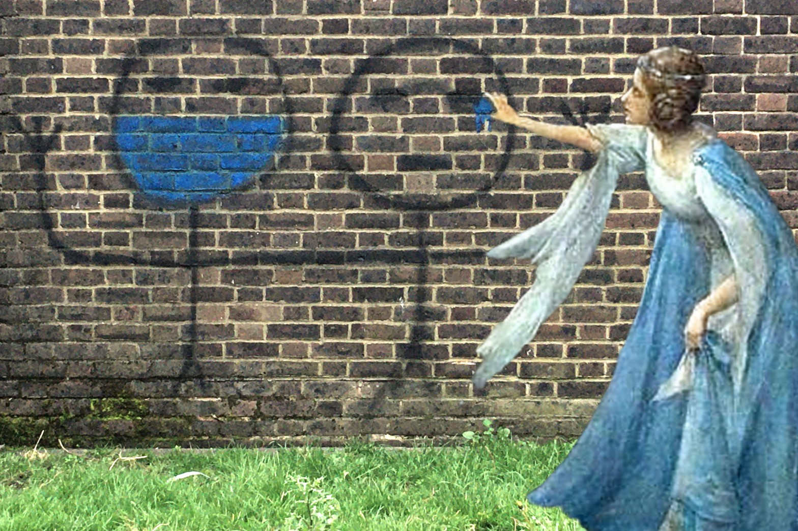 "Henry Meynell Rheam's ""Titania Welcoming Her Fairy Bretheren"" with some COVID-19 graffiti on New King Street, Deptford"