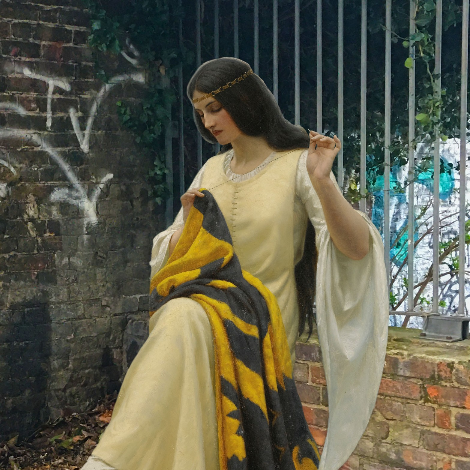 "Edmund Blair Leighton's ""Stitching the Standard"" (1911) next to the steps to the Thames on Watergate Street in Deptford"