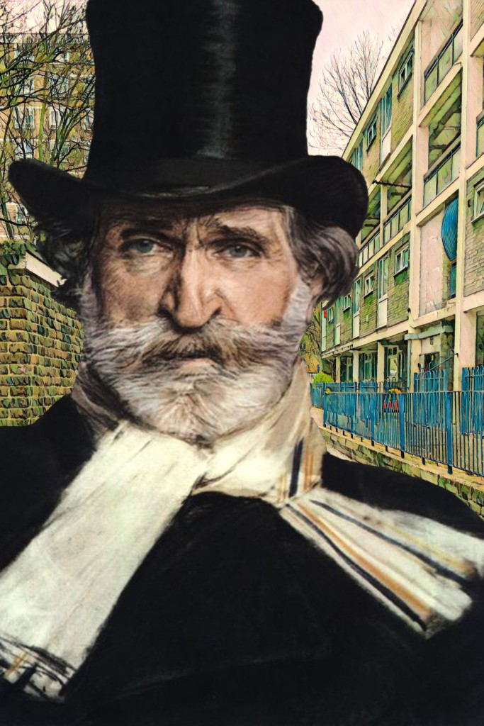 "Giovanni Boldini's ""Portrait of Giuseppe Verdi"" (1886) on Dacca Street in Deptford"