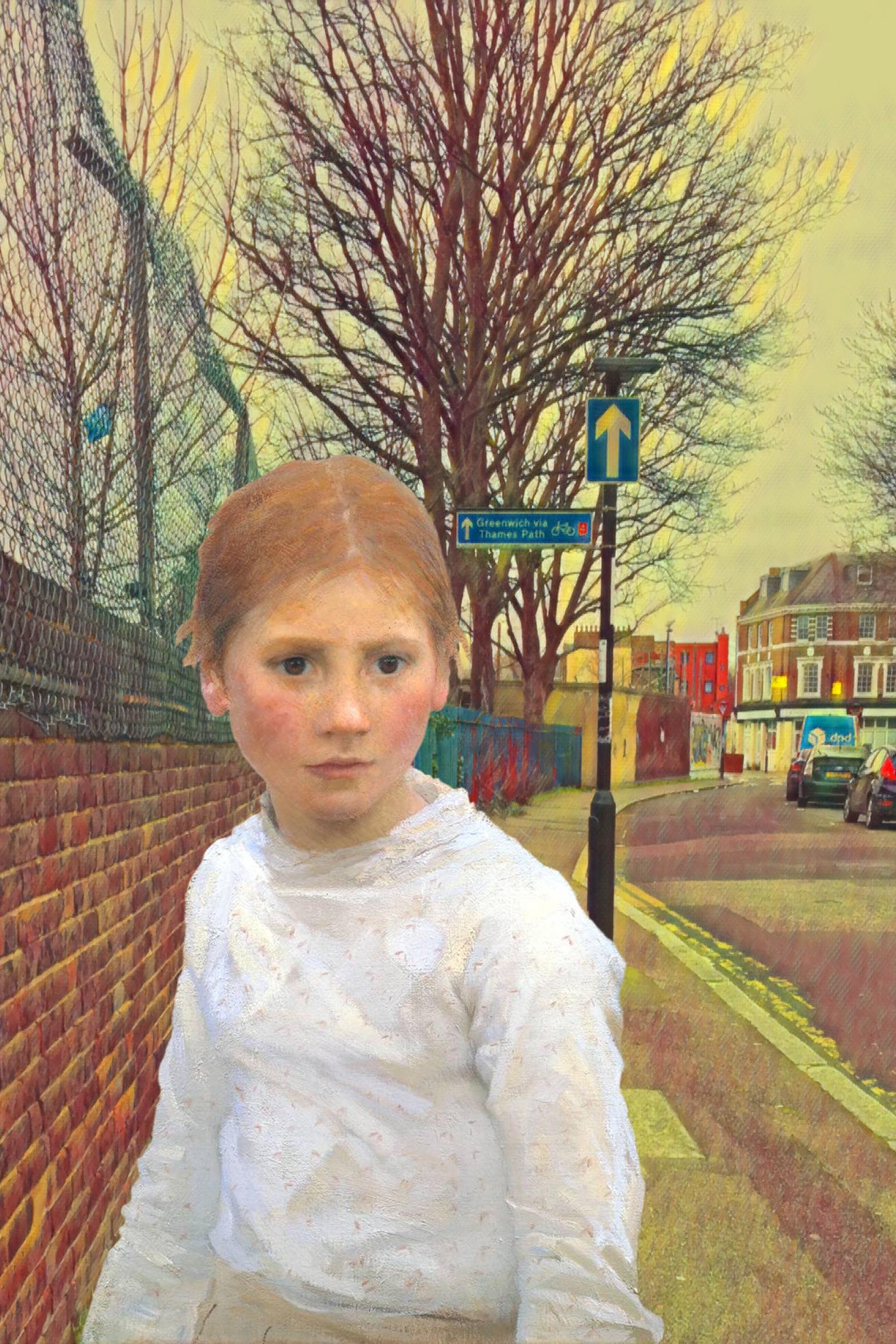 """George Clausen's """"Brown Eyes"""" (1891) on Prince Street in Deptford"""