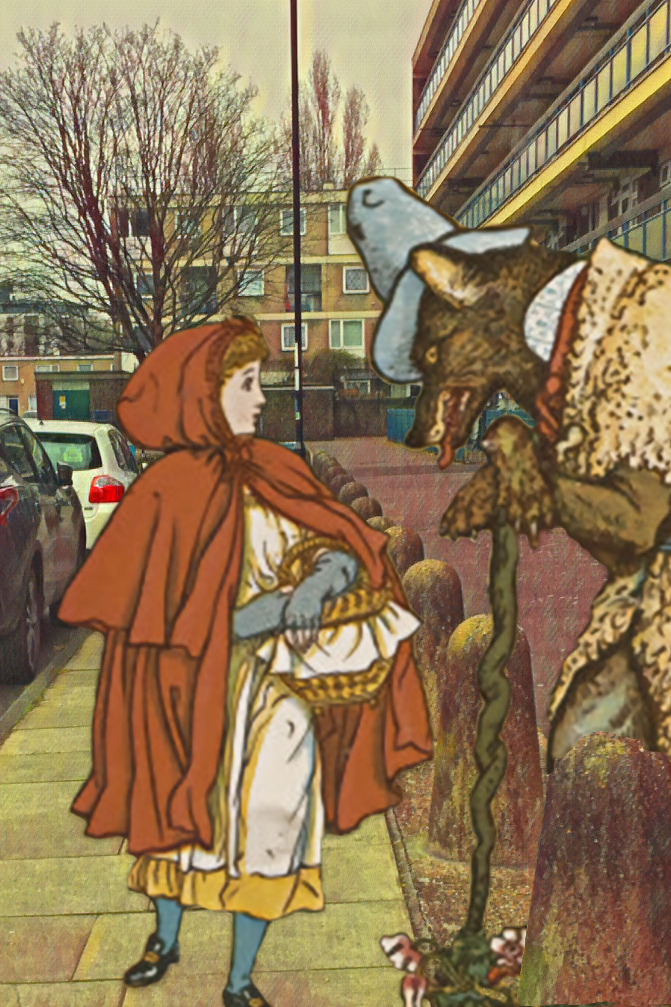 "Walter Crane's ""Little Red Riding Hood Meets the Wolf in the Woods"" (1896) on Dacca Street, Deptford"