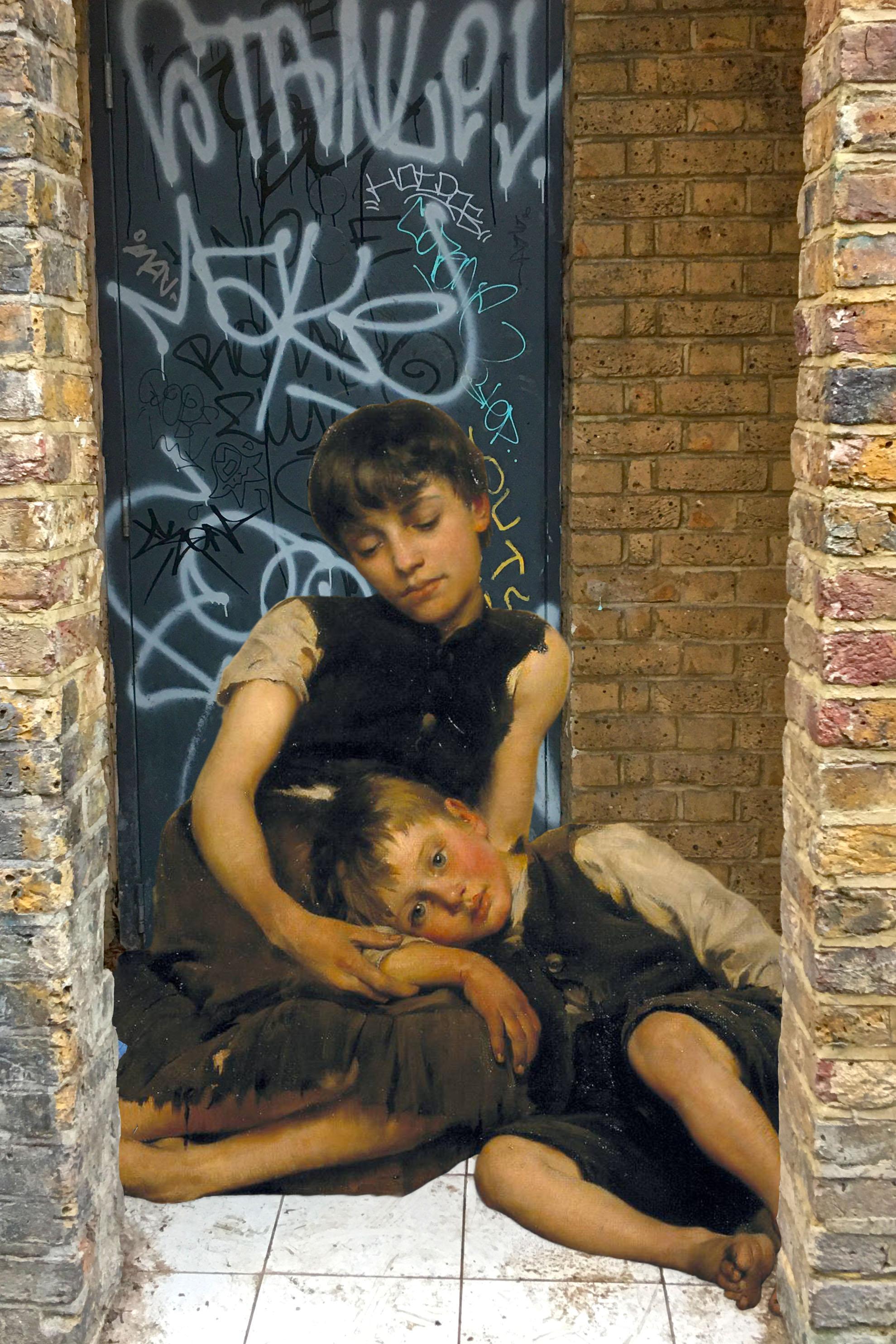 """Thomas Benjamin Kennington's """"Orphans"""" (1885) on Watergate Street in Deptford"""