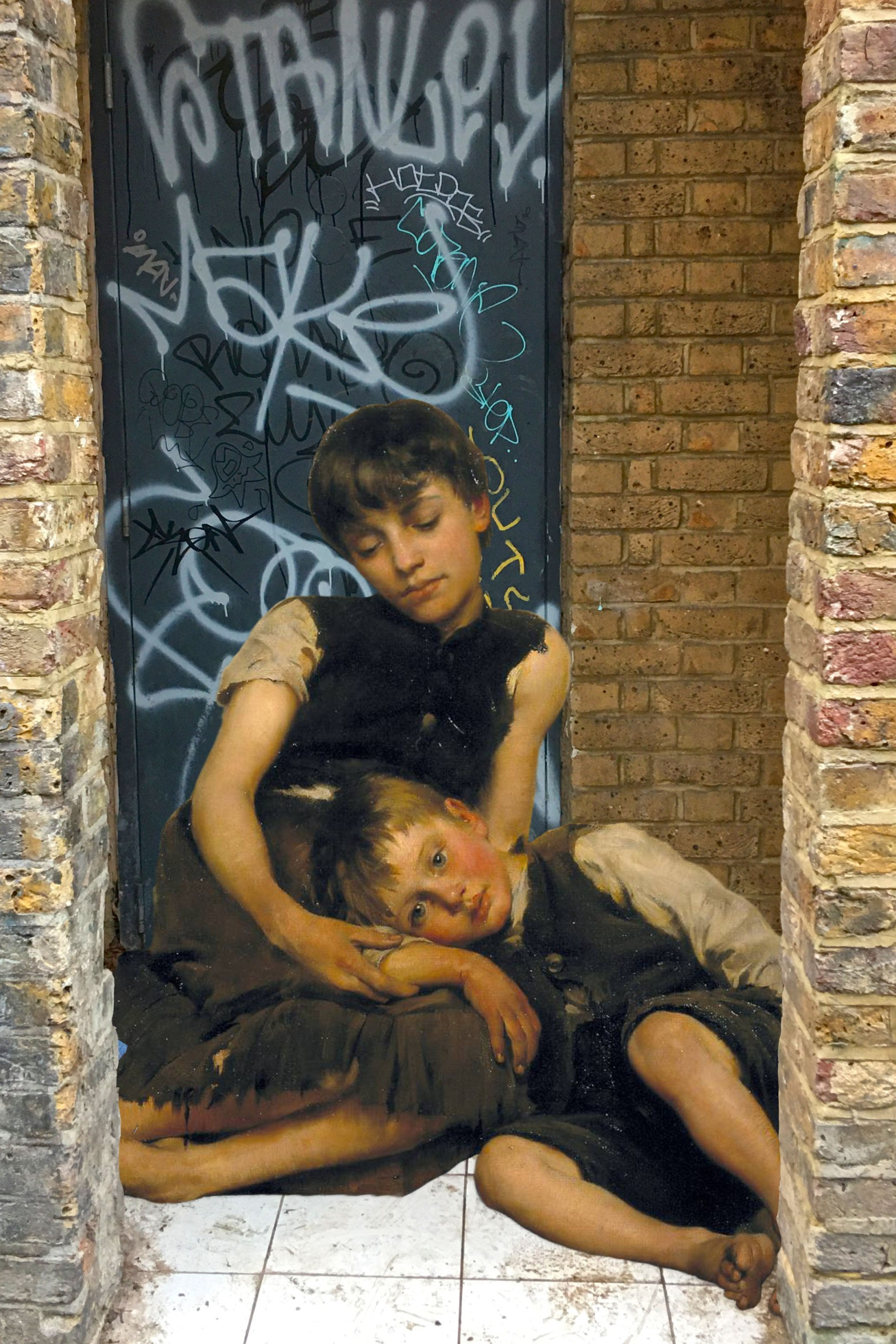 "Thomas Benjamin Kennington's ""Orphans"" (1885) on Watergate Street in Deptford"