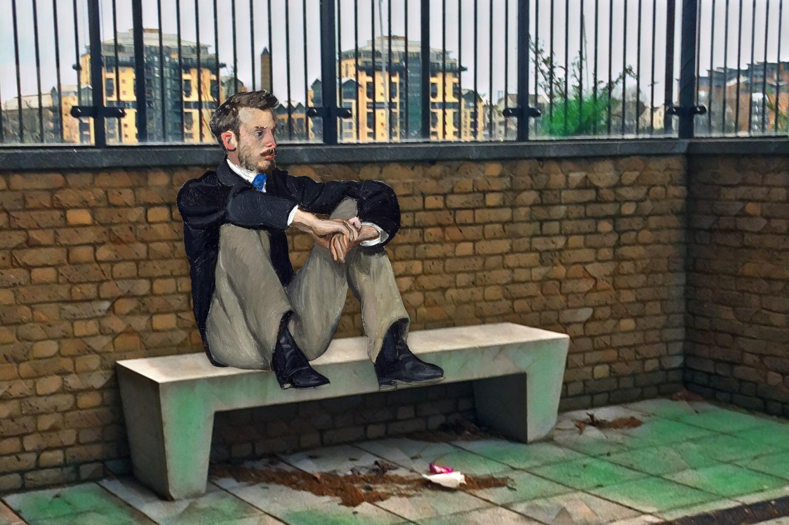 """Frédéric Bazille's """"Portrait of Renoir"""" (1867) on Wharf Street next to the Thames in Deptford"""