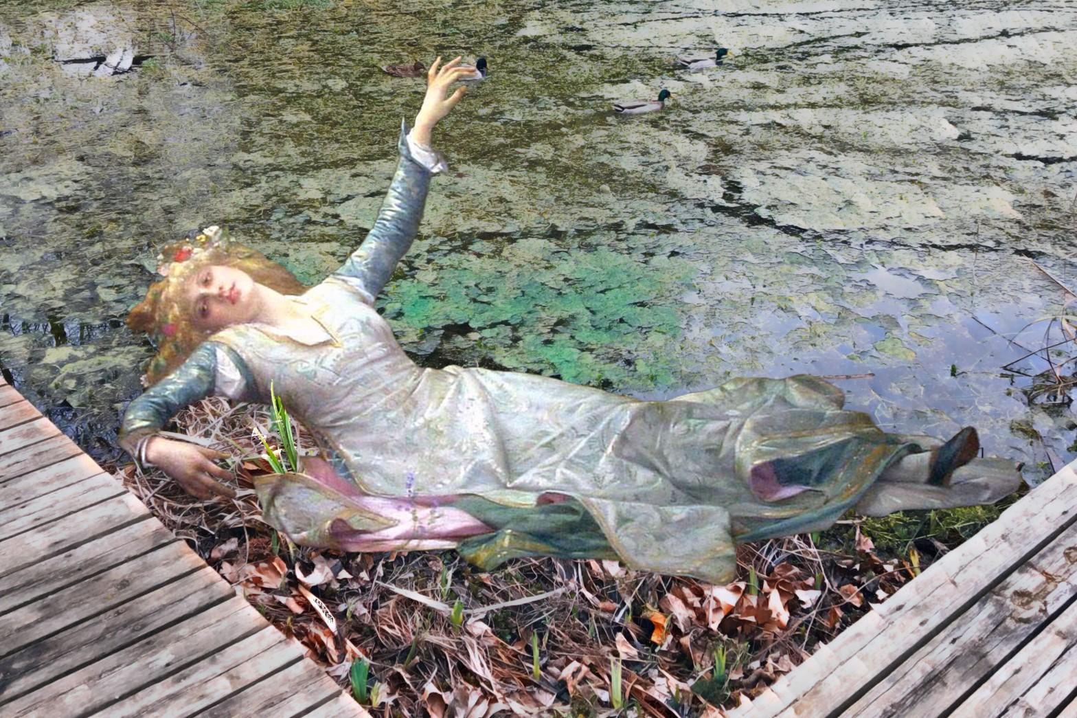 """Alexandre Cabanel's """"Ophelia"""" (1883) in Twinkle Park Pond, Deptford"""
