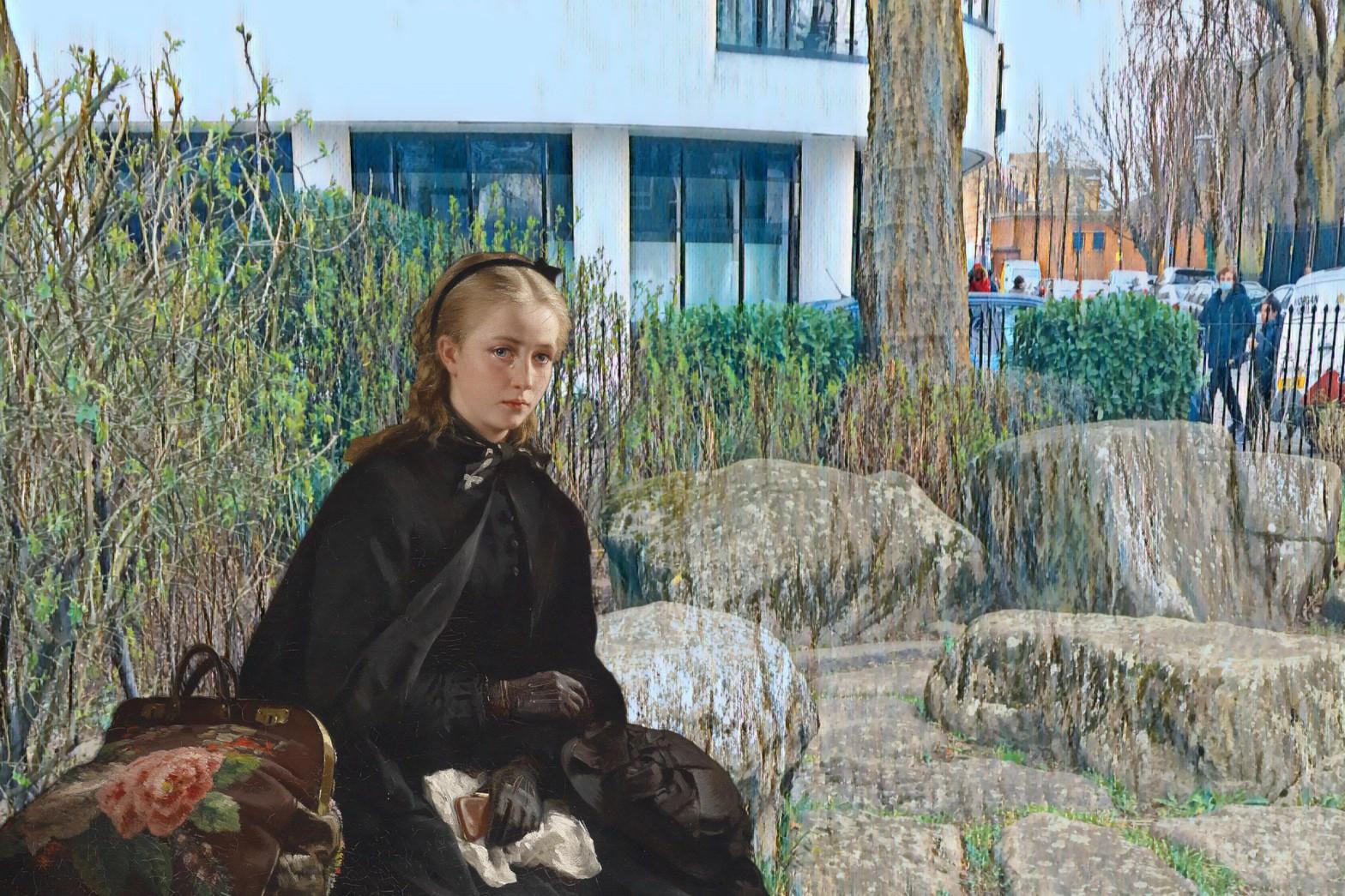 """Berthold Woltze's """"Der lästige Kavalier"""" (The Annoying Gentleman) (1874) in Twinkle Park in Deptford"""