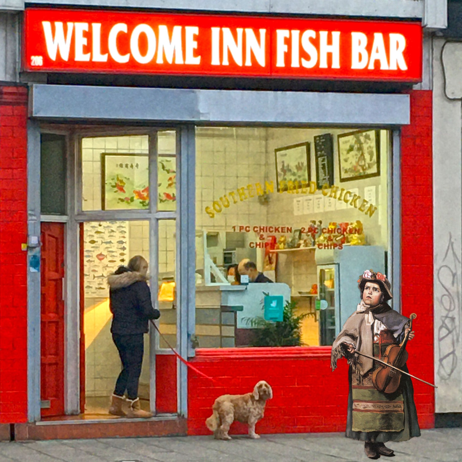 """Jean Frédéric Bazille's """"Little Italian Street Singer"""" (1866) in front of the Welcome Inn Fish Bar on Evelyn Street in Deptford"""