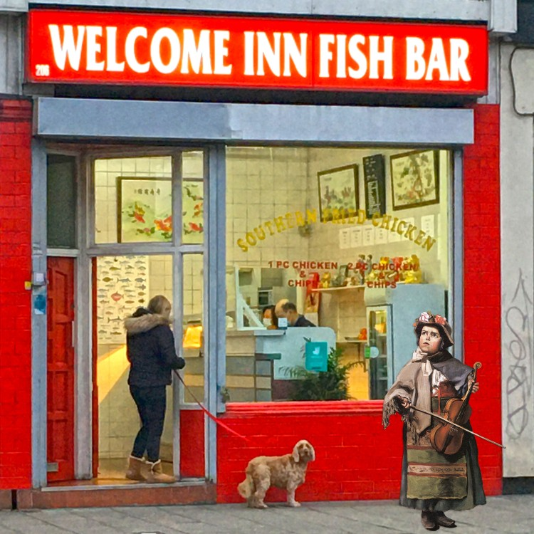 "Jean Frédéric Bazille's ""Little Italian Street Singer"" (1866) in front of the Welcome Inn Fish Bar on Evelyn Street in Deptford"