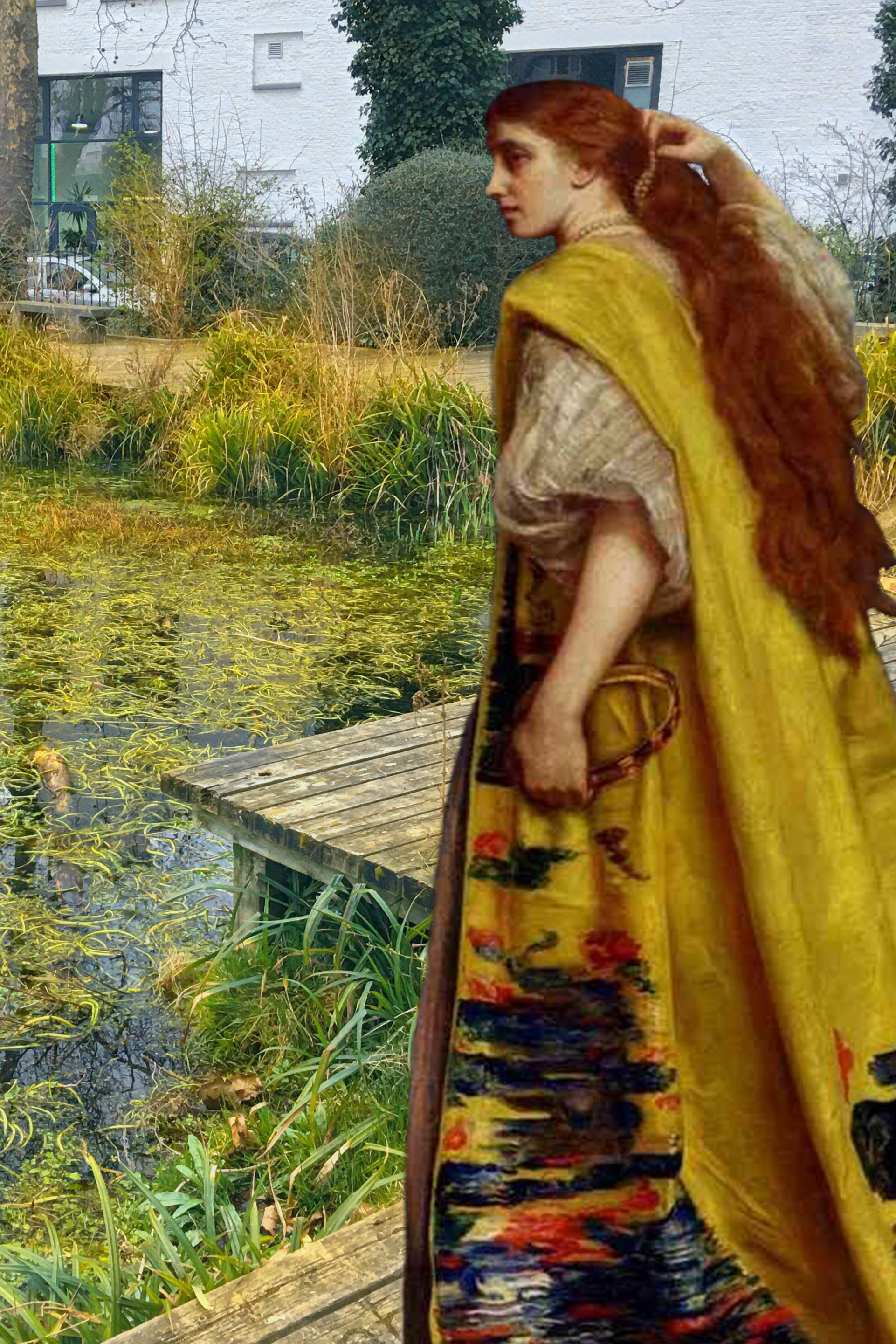 "John Everett Millais's ""Esther"" (1865) next to the Twinkle Park pond in Deptford"