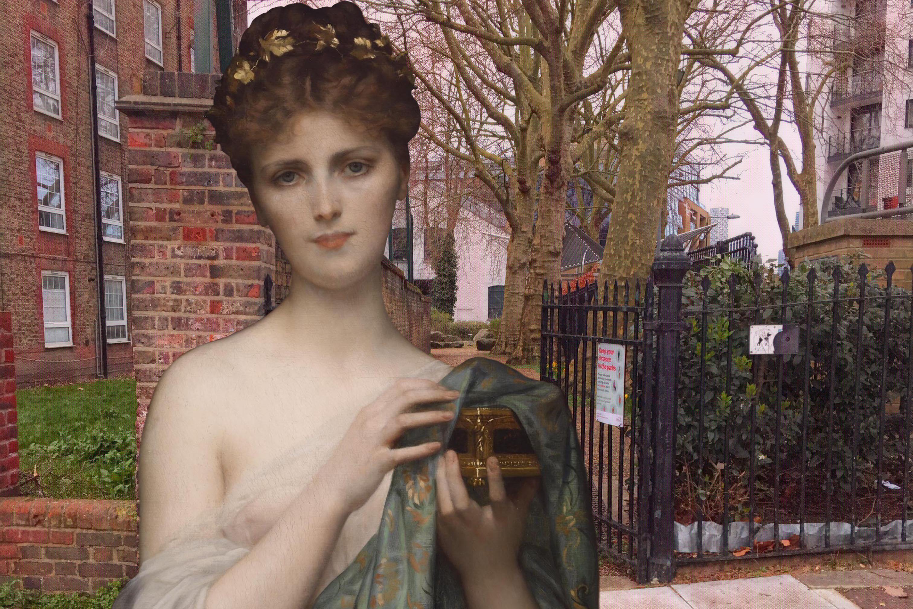 "Alexandre Cabanel's ""Pandora"" (1873) on Trevithick Street in Deptford"