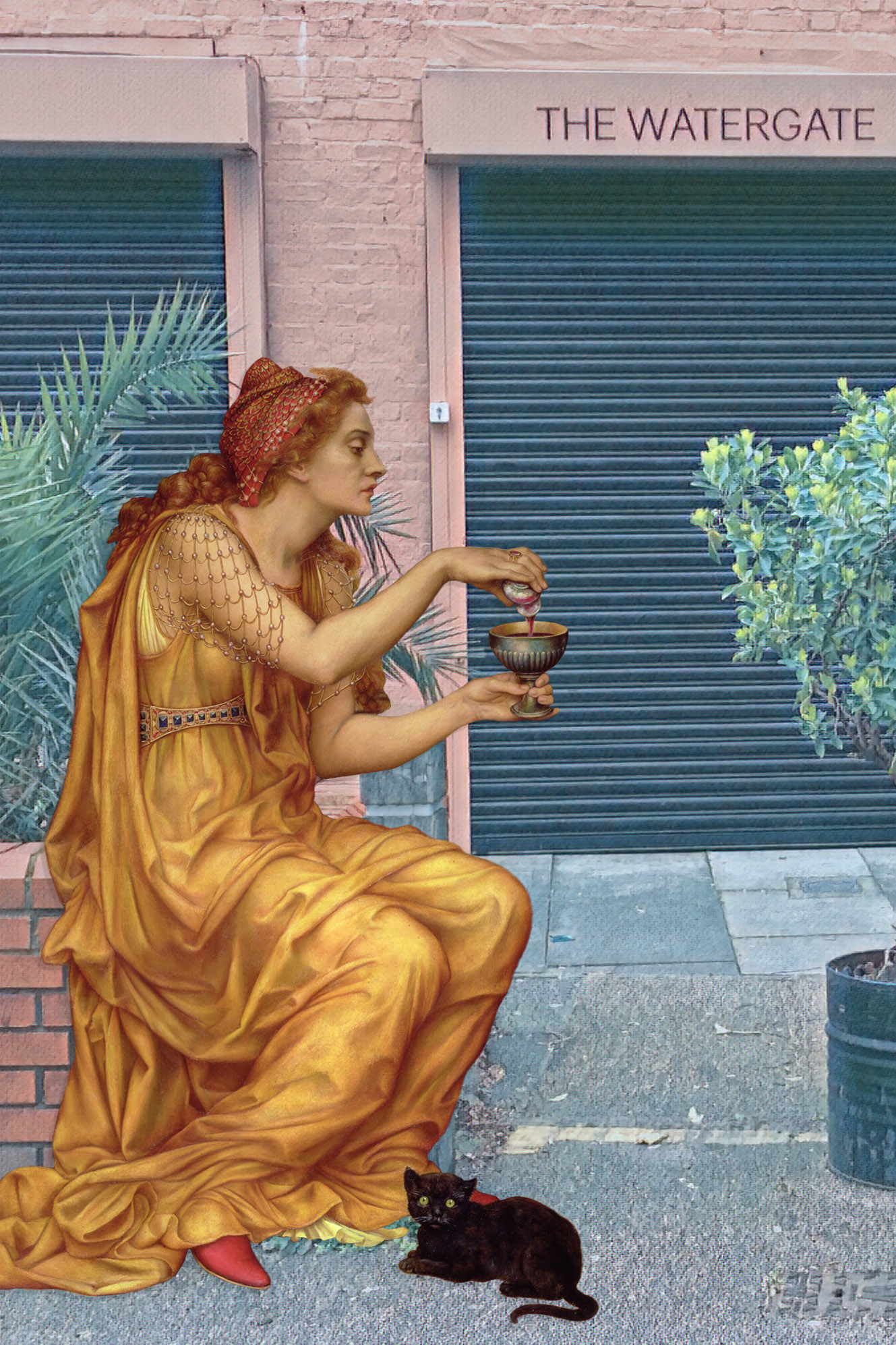 "Evelyn De Morgan's ""The Love Potion"" (1903) in front of The Watergate on Watergate Street in Deptford"