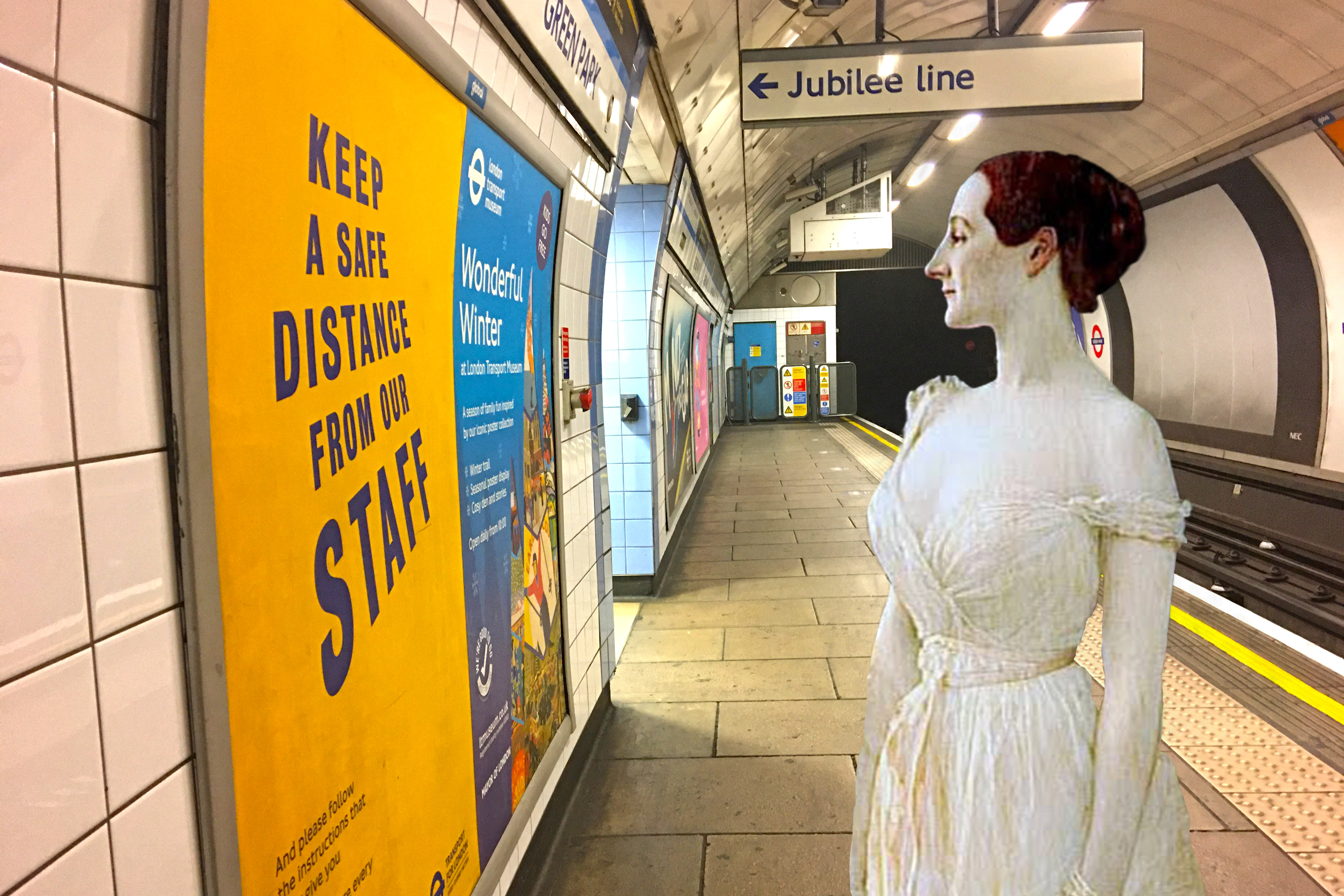 "Gustave Etienne Courtois's ""Madame Gautreau"" (1891) on the Victoria Line platform at Green Park Station (London)"