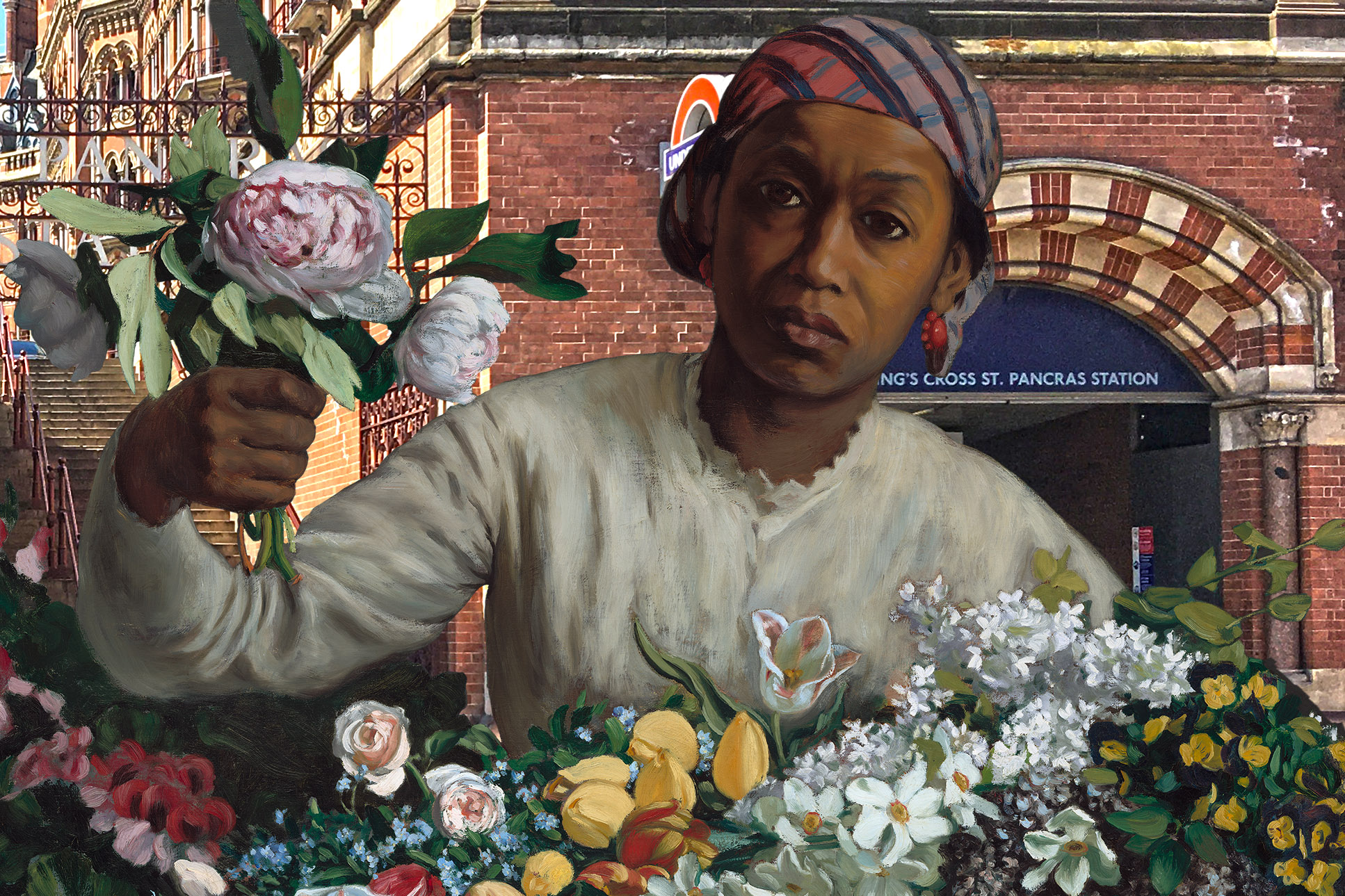 "Frédéric Bazille's ""Woman With Peonies"" (1870) outside Saint Pancras Station (London)"