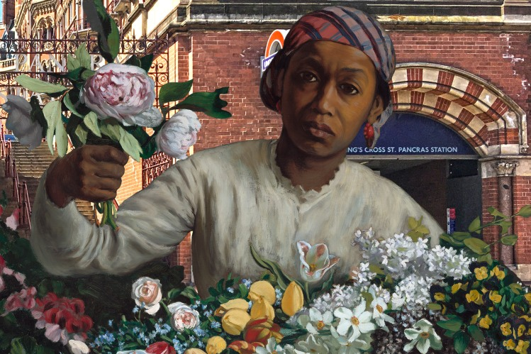 """Frédéric Bazille's """"Woman With Peonies"""" (1870) outside Saint Pancras Station (London)"""