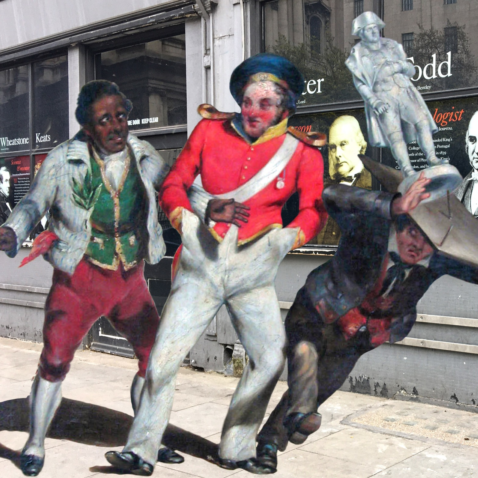 """George Wallis's """"Fall of Napoleon"""" (1836) in front of King's College London on the Strand"""