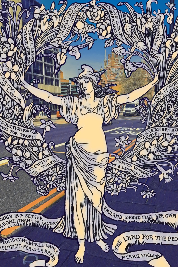"""Walter Crane's """"A Garland for Mayday 1895"""" (1895) on Euston Road (near the British Library) in London"""