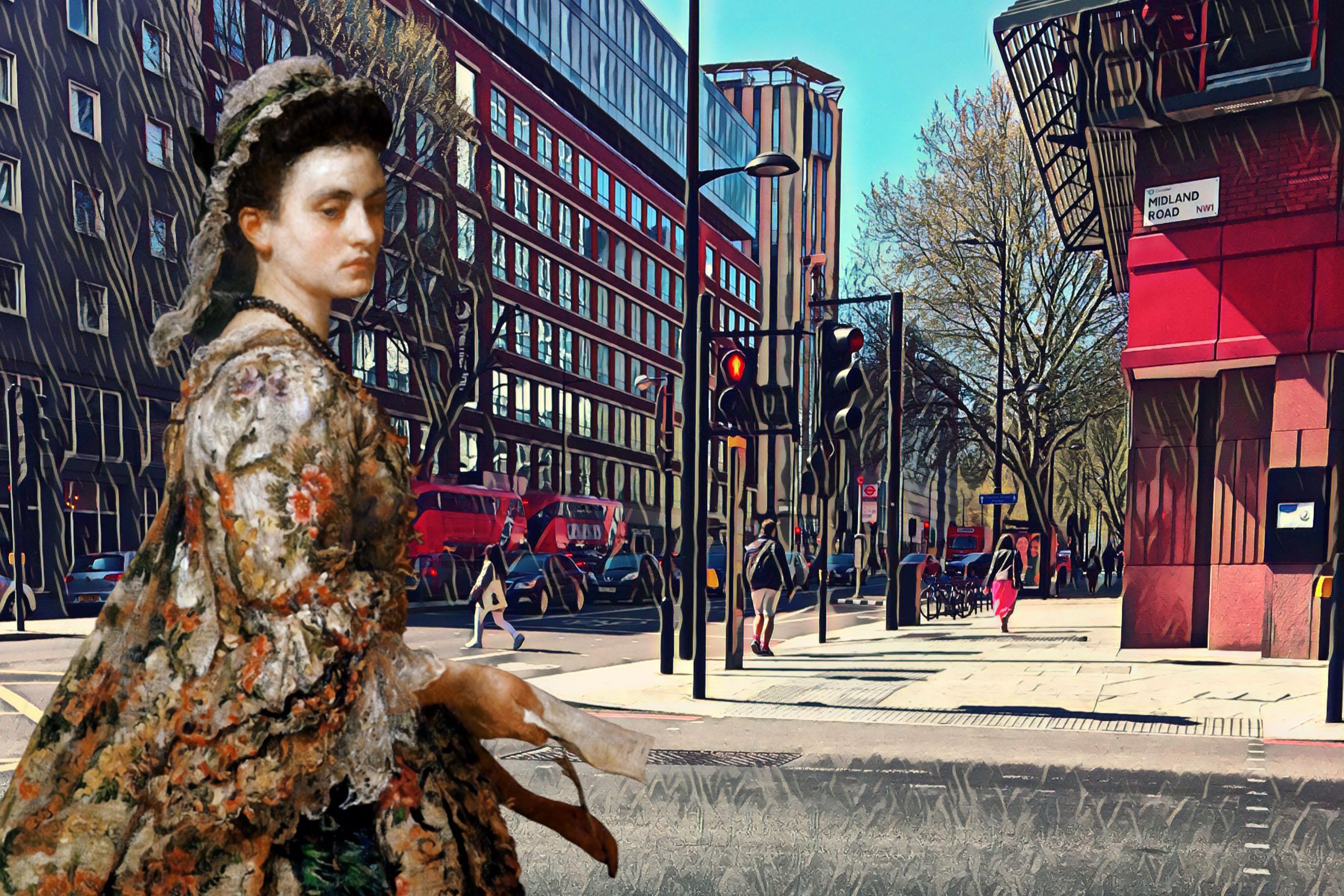 "John Everett Millais's ""Vanessa"" (1868) crossing Midland Road near the British Library in London"