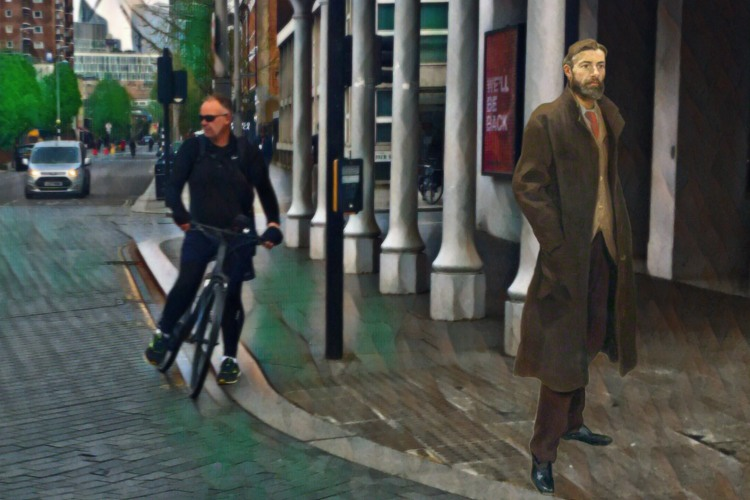 """Roger Fry's """"Edward Carpenter"""" (1894) in front of the The Old Vic, The Cut, London"""