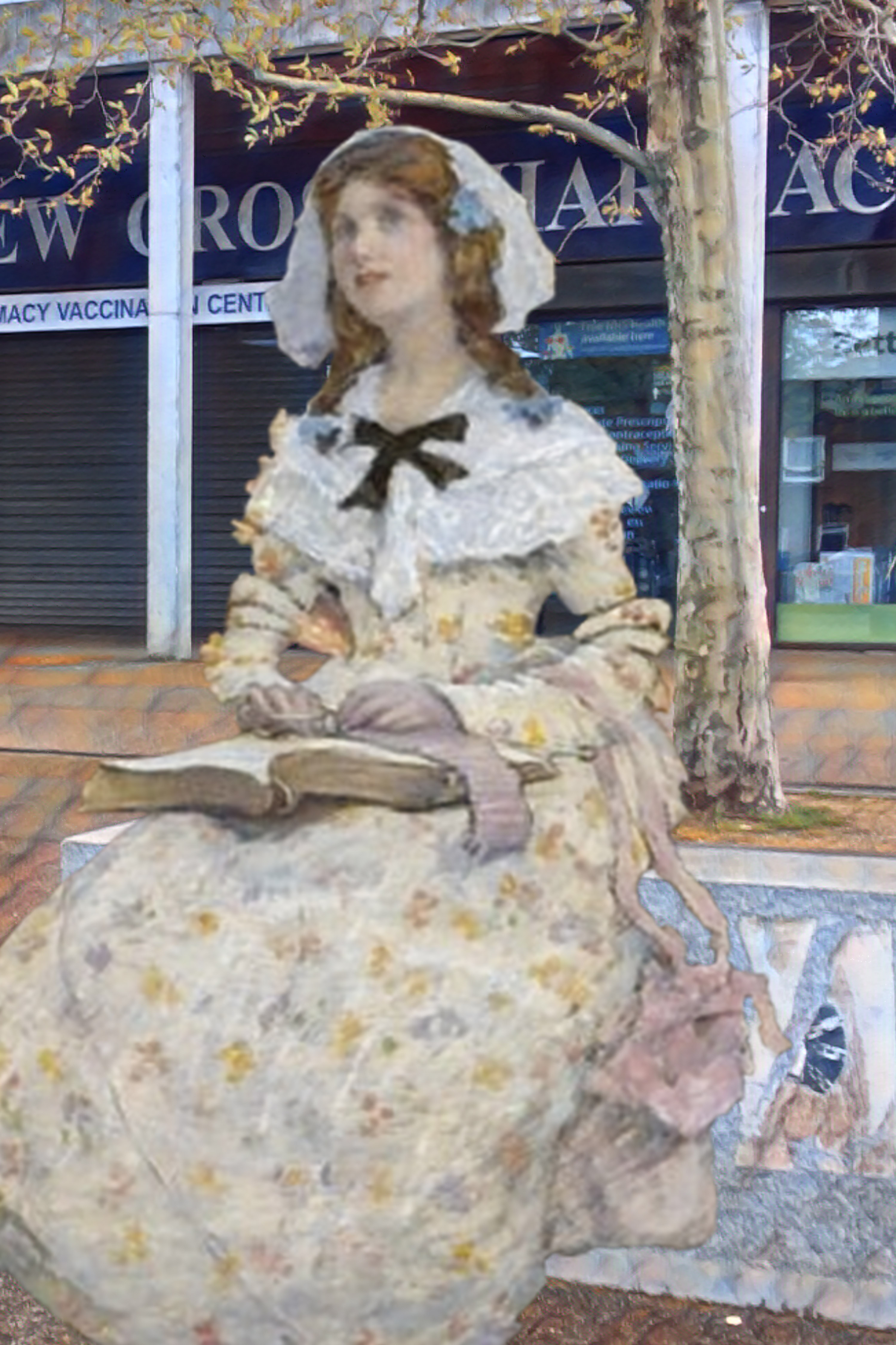 """Elizabeth Adela Forbes's """"The Open Book"""" (n.d.) in front of the Waldron Health Centre, New Cross"""