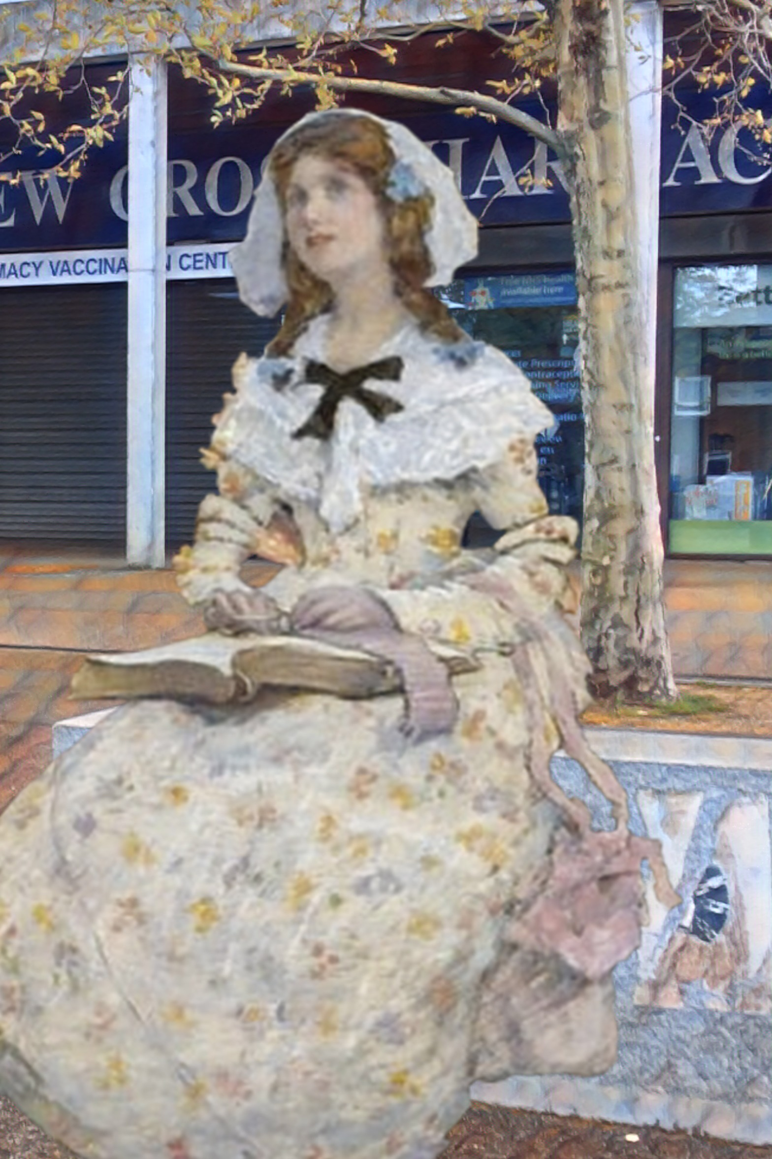 "Elizabeth Adela Forbes's ""The Open Book"" (n.d.) in front of the Waldron Health Centre, New Cross"