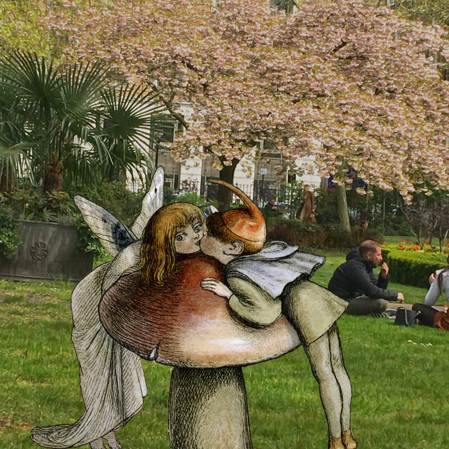 "Illustration from Richard Doyle's ""In Fairy Land"" (1870) in St. James's Square, London"