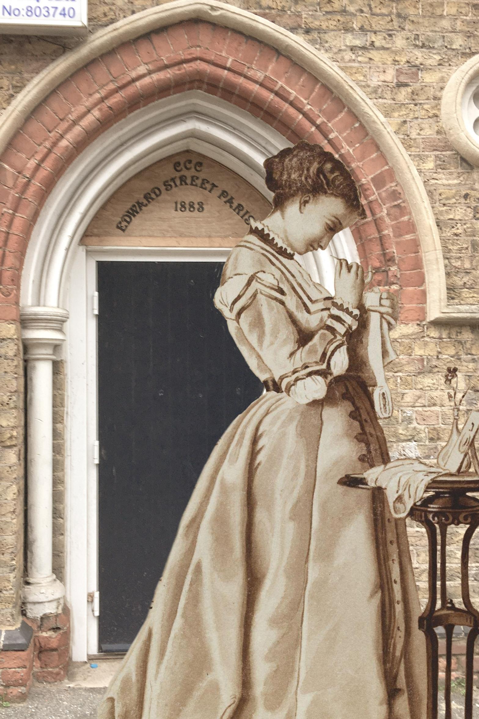 "Charles François Marchal's ""Penelope"" (1868) on Edtward Street, Deptford Penelope image sourced from the Victoria & Albert Museum (Item No. 0576977-2013fy9050)"