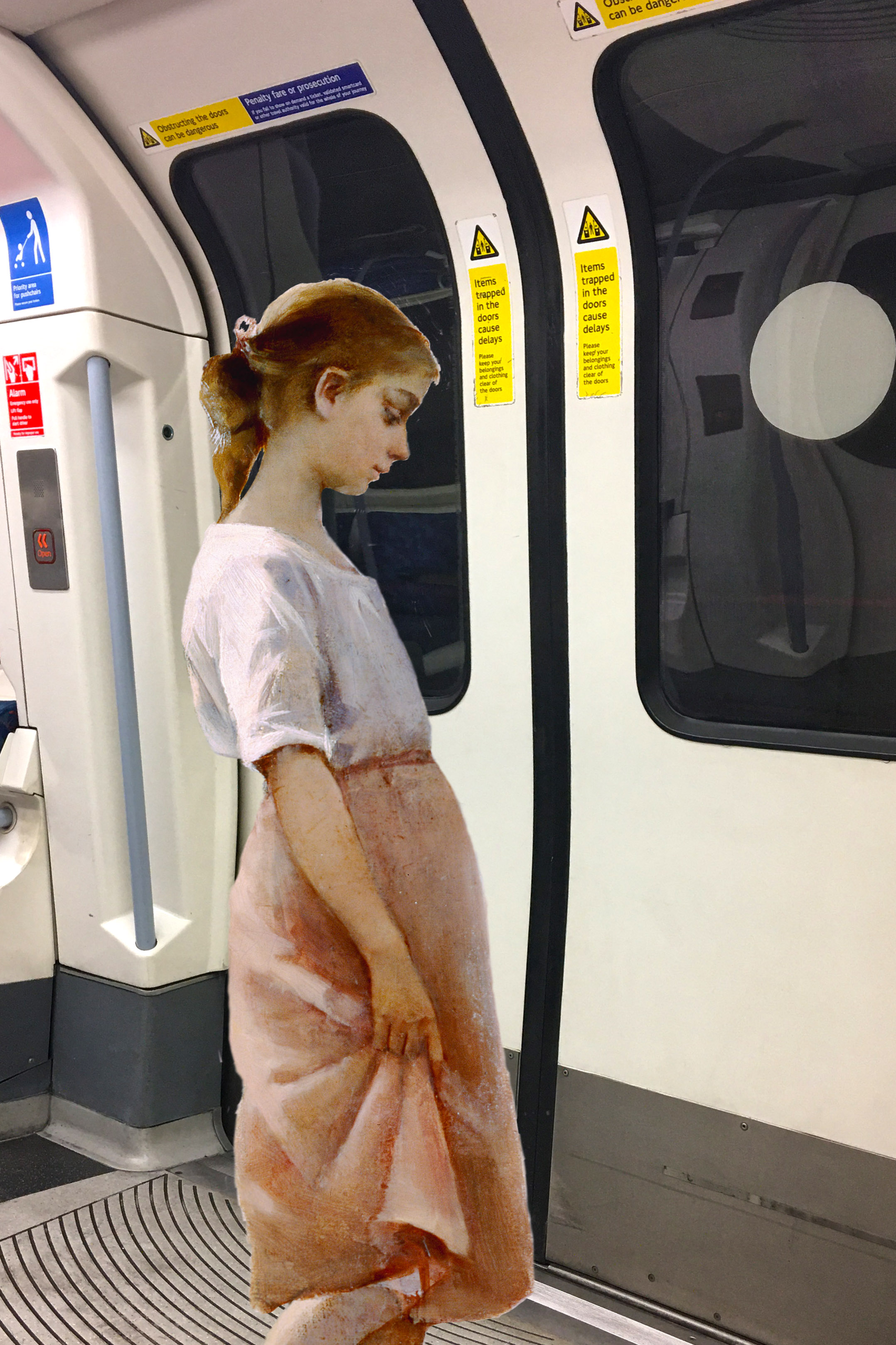 """Amélie Lundahl's """"Before a Swim"""" (1885) on the Jubilee Line under the Thames on the way to Westminster Station, London"""
