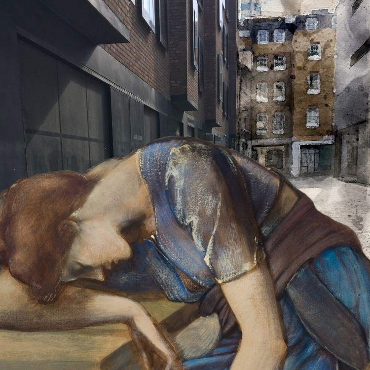 Edward Burne-Jones's The Briar Rose Series - Study for 'The Garden Court' (1889) in Mason's Yard behind the London Library [Burne-Jones photo by Birmingham Museums Trust, licensed under CC0]