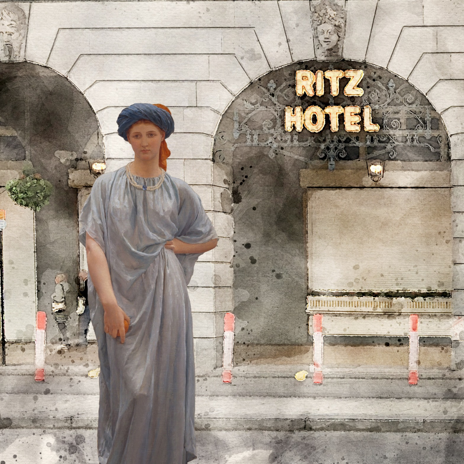 """Albert Joseph Moore's """"Sapphires"""" (1877) in front of the Ritz, Piccadilly, Mayfair, London [Artwork from Birmingham Museums Trust, licensed under CC0]"""