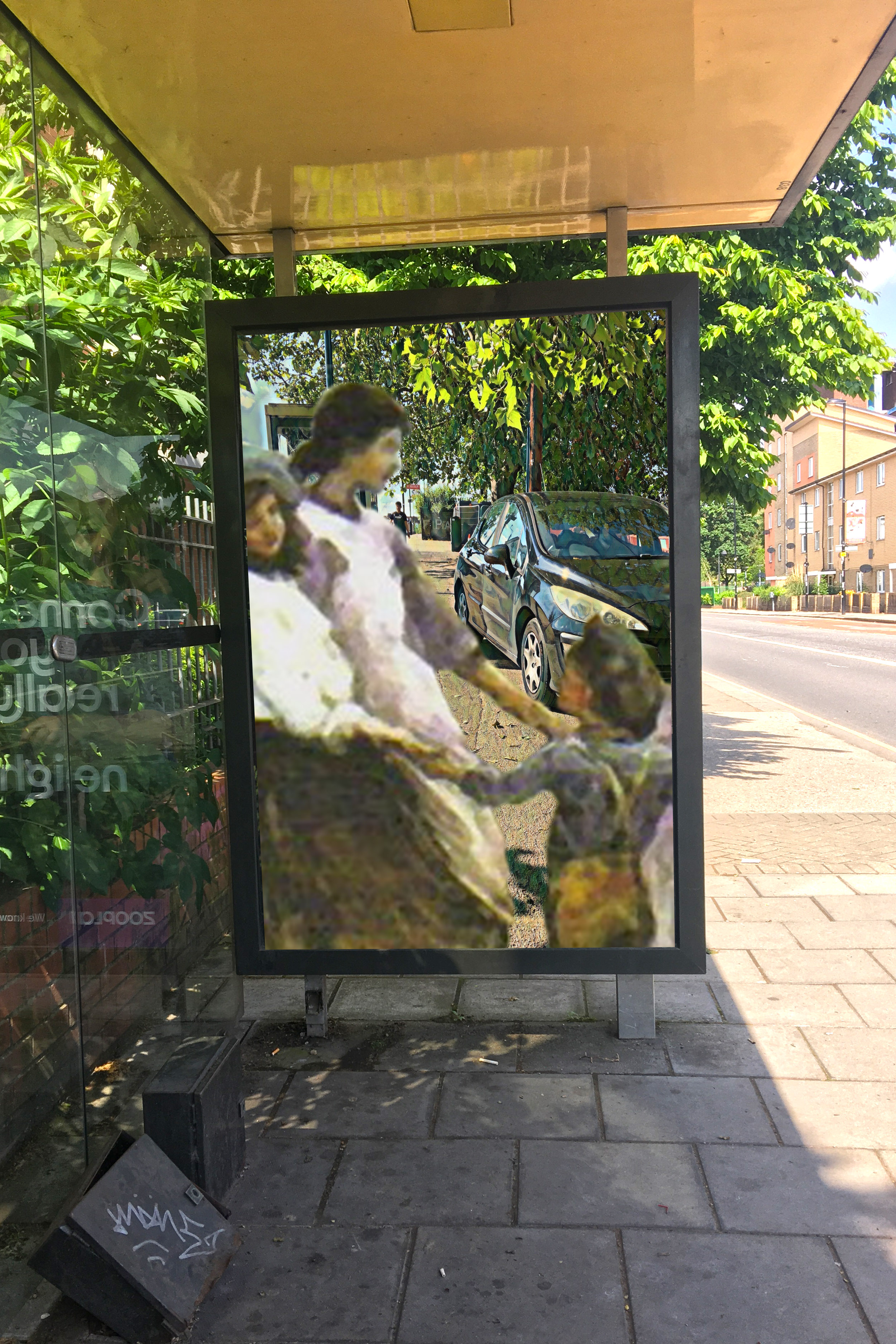 """Deptford Park School bus stop with image of Elizabeth Adela Forbes's """"Ring a Ring O'Roses"""" (1880) in front of a car parked on the pavement near Dragoon Road, Evelyn Street, London"""