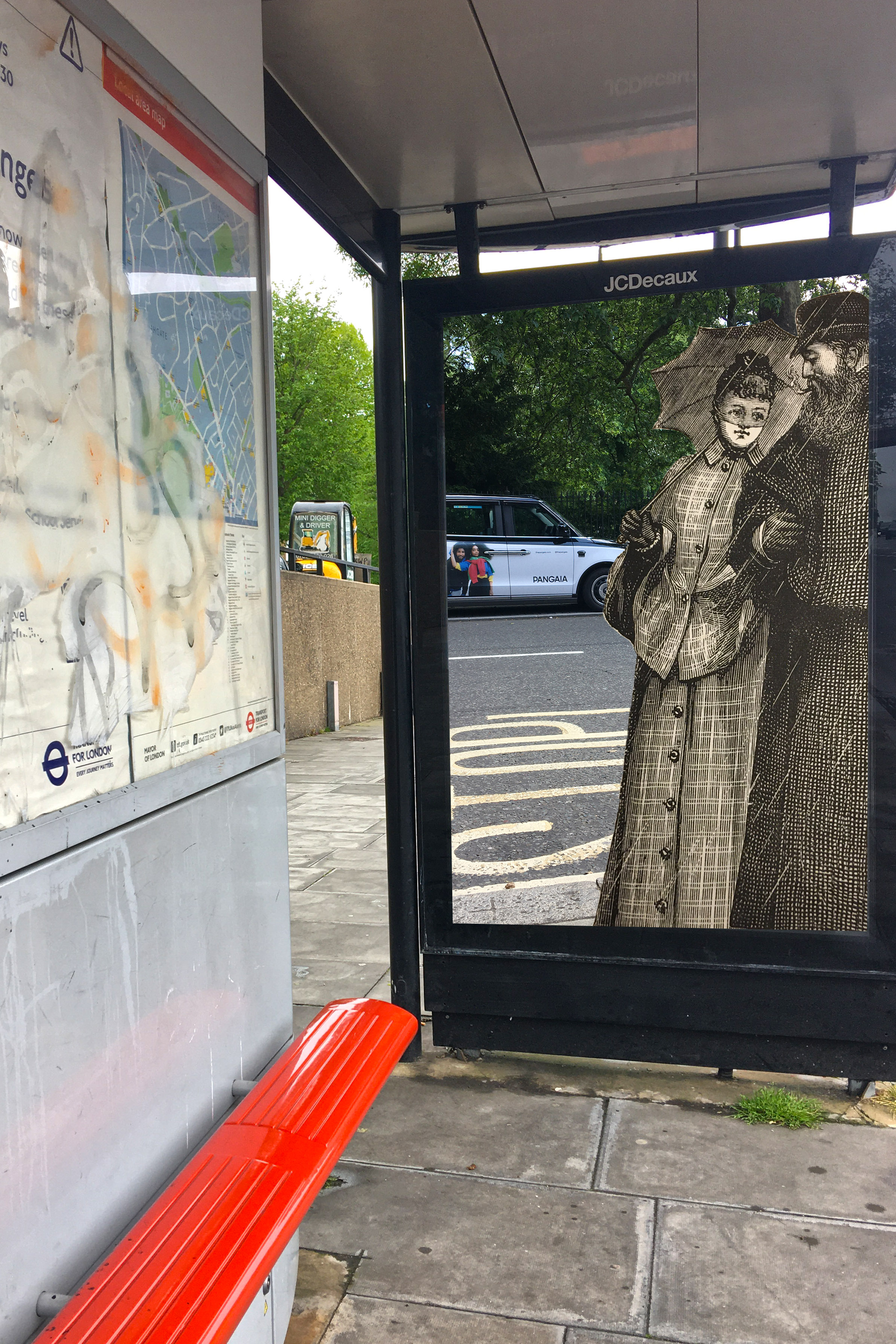 """Bus stop on Archway Road, Islington, with figures from a Genuine Macintosh Waterproofs ad sample from """"Sell's World Press"""" (1892) next to Russell Square, Bloomsbury, Lodon"""