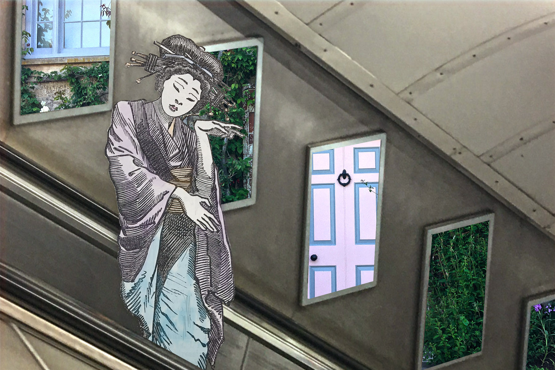 """Figure from Edward Linley Sambourne's """"The Japanese School at the Royal Academy"""" from the 4 February 1888 issue of """"Punch"""" (hand coloured) on the Green Park Station escalator to the Jubilee Line and in front of a picture of Charleston House"""