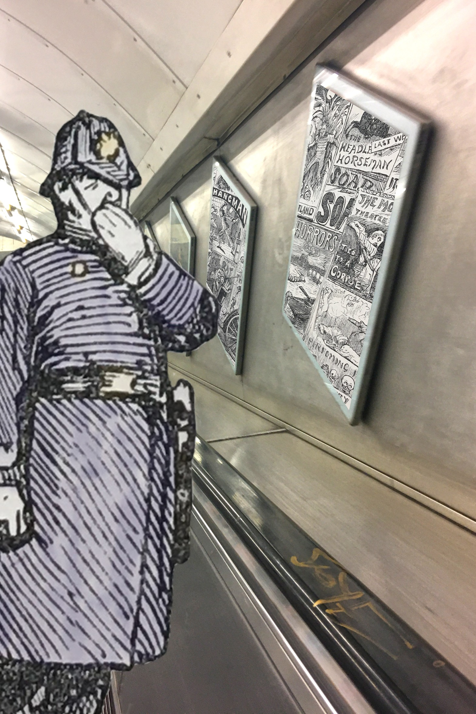 """Harry Furness's """"How We Advertise Now"""" from the 3 December 1887 issue of """"Punch"""" (including hand-coloured policeman figure) on the Jubilee Line escalator in Green Park Station, London"""