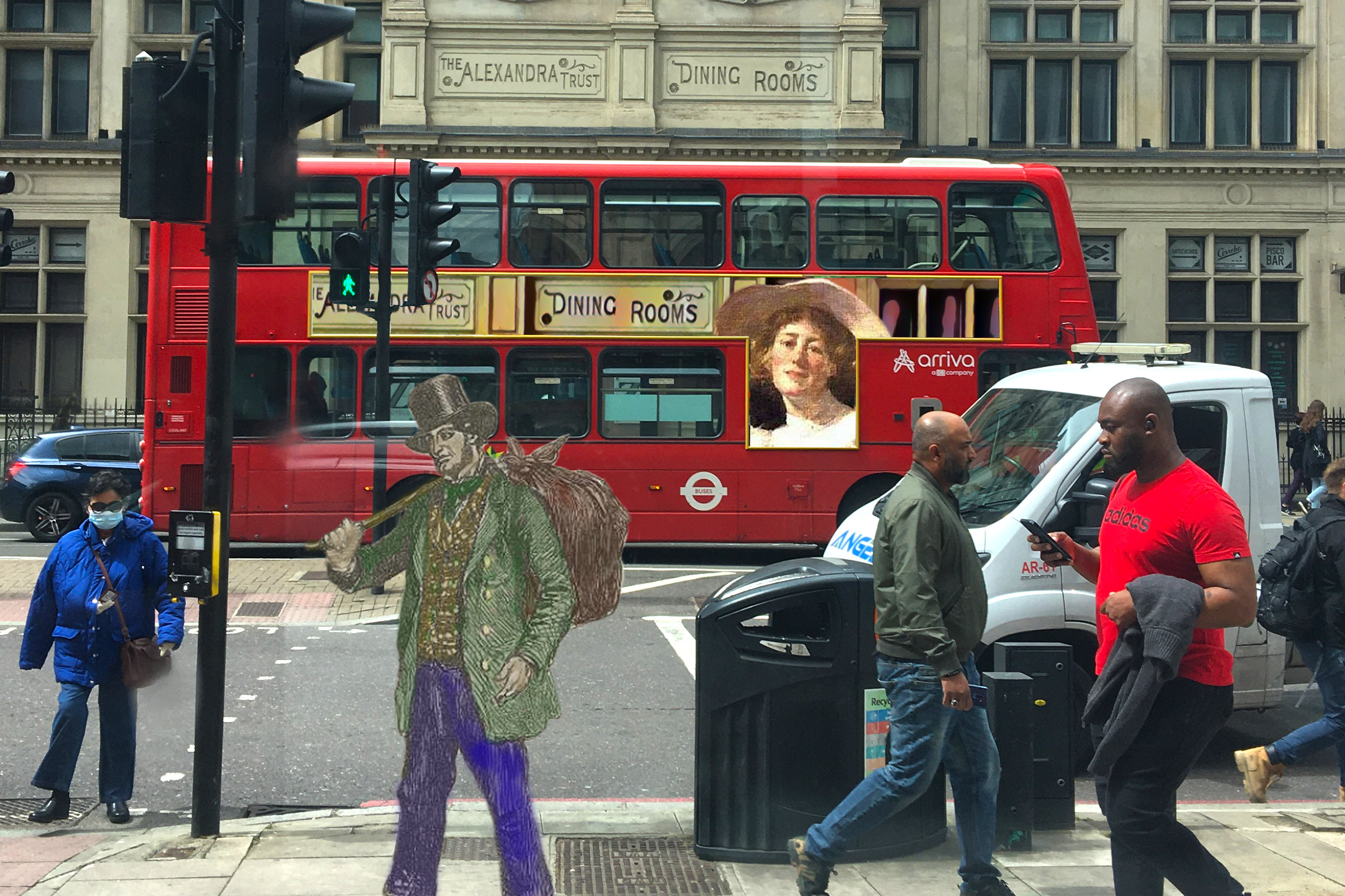 """Hand-coloured figure of a man carrying a bindle from """"British Workman"""" No. 9 (1855), p. 35 crossing City Road, where there is a bus with an advertisement featuring the former Alexandra Trust Dining Rooms sign and a figure from Frank Bramley's """"Friends"""" (n.d.), a painting of his wife, Katherine, and her dog"""